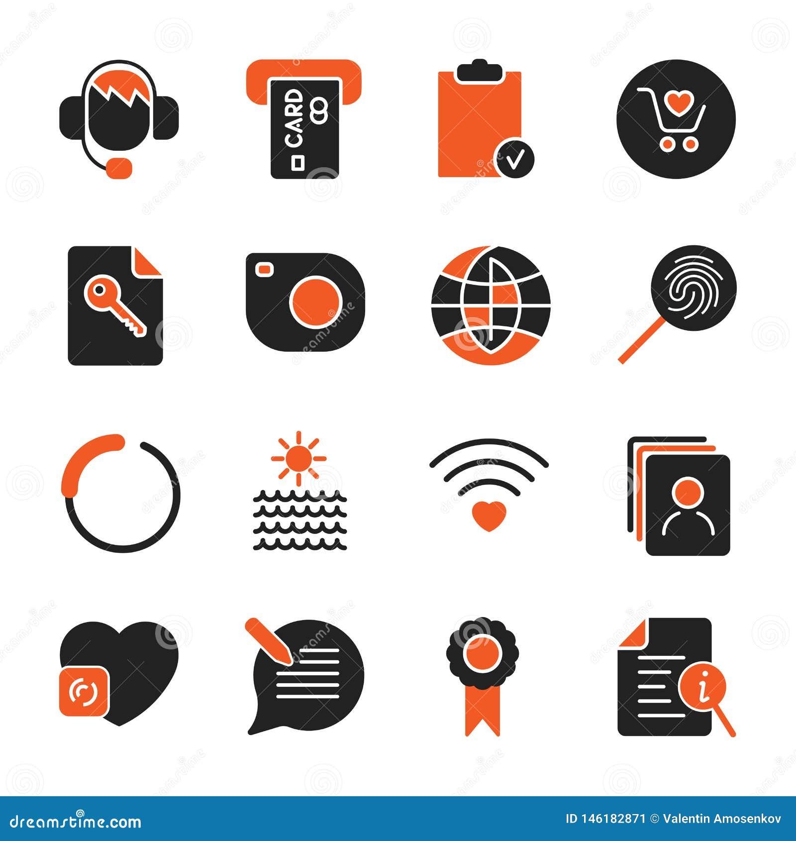St?ll in med olika symboler f?r apps, program, platser och annan set f?r aff?rssymbolskontor