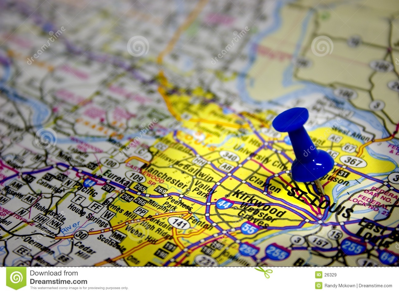 Download St. Louis Missouri Map stock image. Image of north, push - 26329