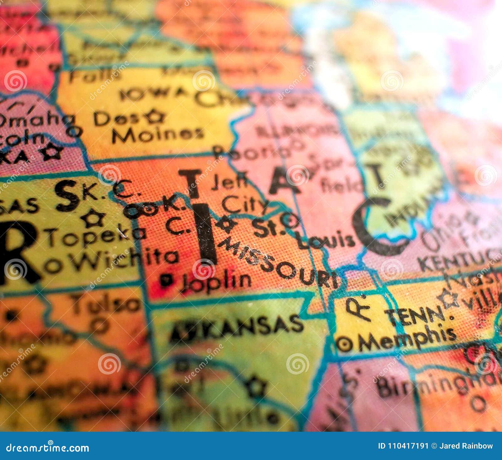 St Louis Missouri usa ostrości makro- strzał na kuli ziemskiej mapie dla podróż blogów, ogólnospołecznych środków, sieć sztandaró