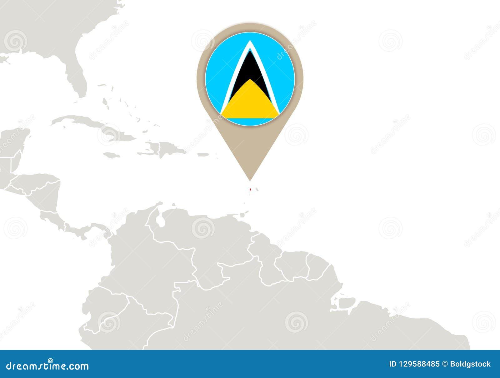 St. Lucia auf Weltkarte
