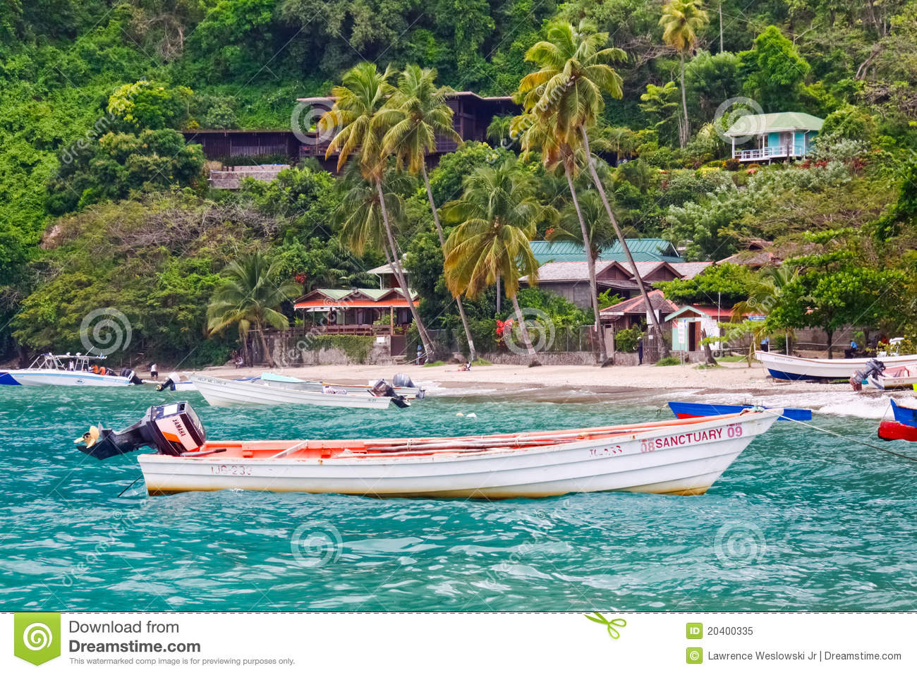 St. Lucia - Colorful Fishing Boat Off Soufriere Editorial Image - Image: 20400335