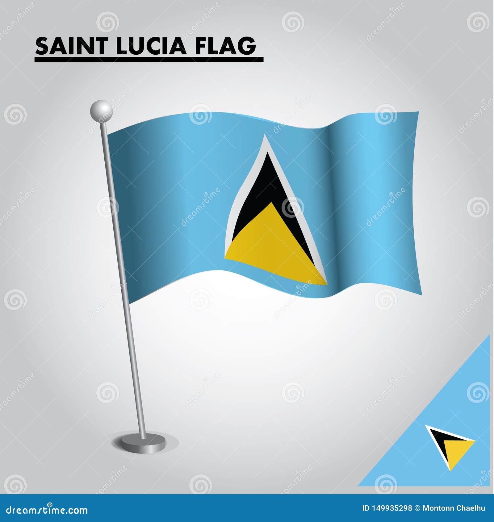 ST. LUCIA-Flagge Staatsflagge der ST. LUCIA auf einem Pfosten