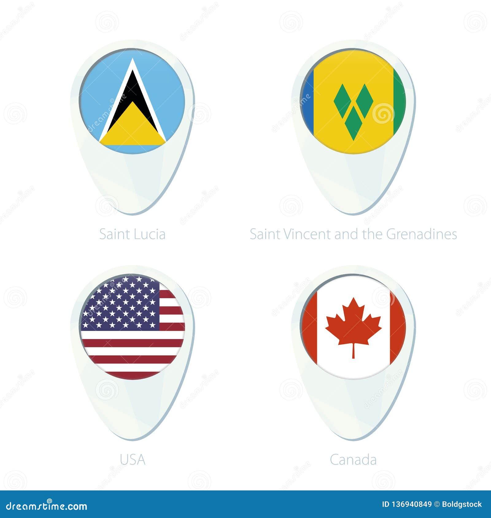 St. Lucia, St. Vincent und die Grenadinen, USA, Kanada Flaggen-Standortkarten-Stiftikone