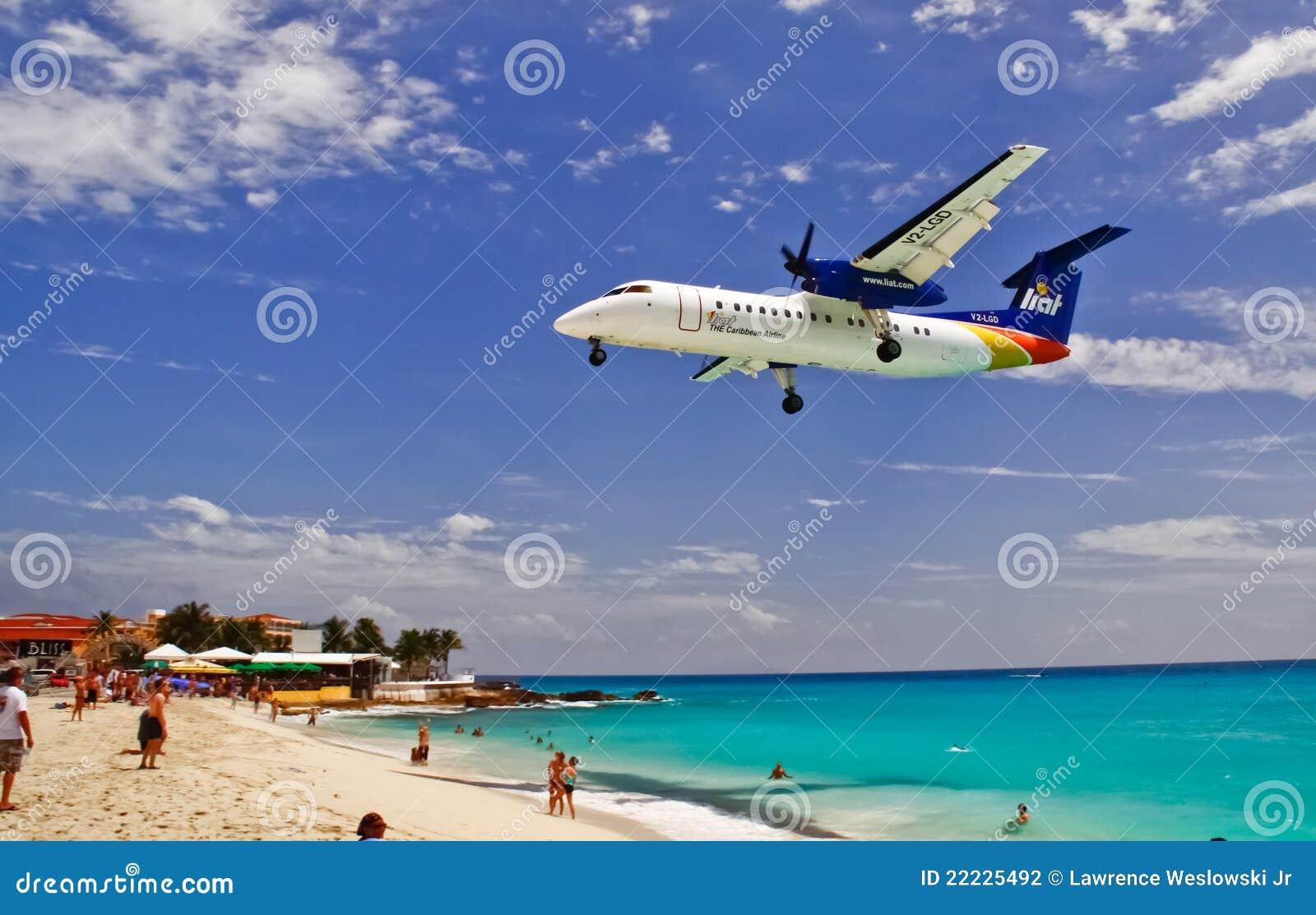 St. Maarten Maho Bay Liat Plane Landing