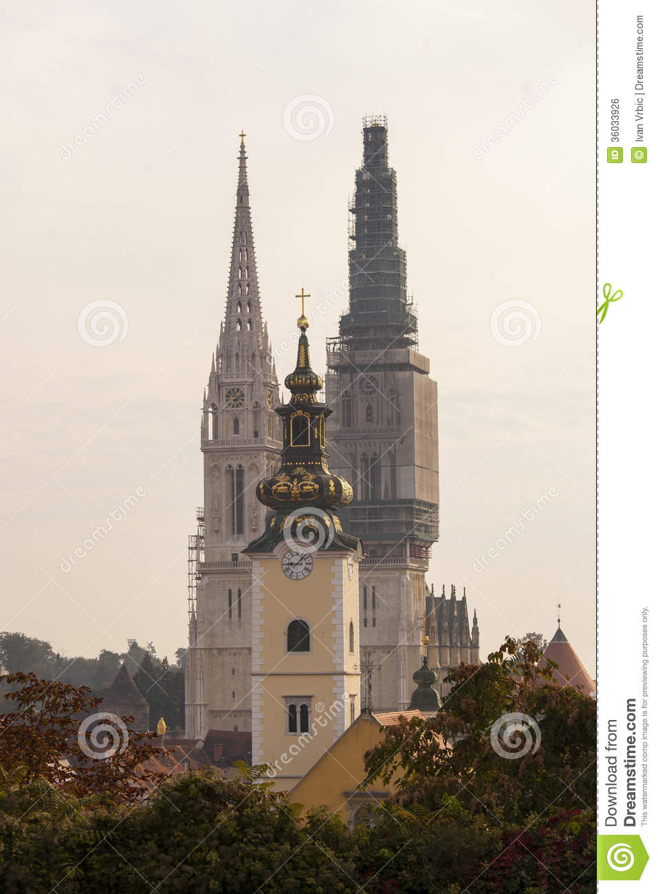 St Mary Church Tower In Between Two Towers Of Zagreb Cathedral Stock Photo Image Of Churches Bell 36033926