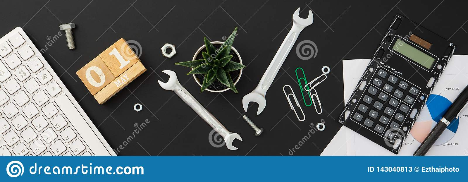 1st May International Labour Day Web Banner background concept. Office or home table desk stylish work space Flat lay Top view