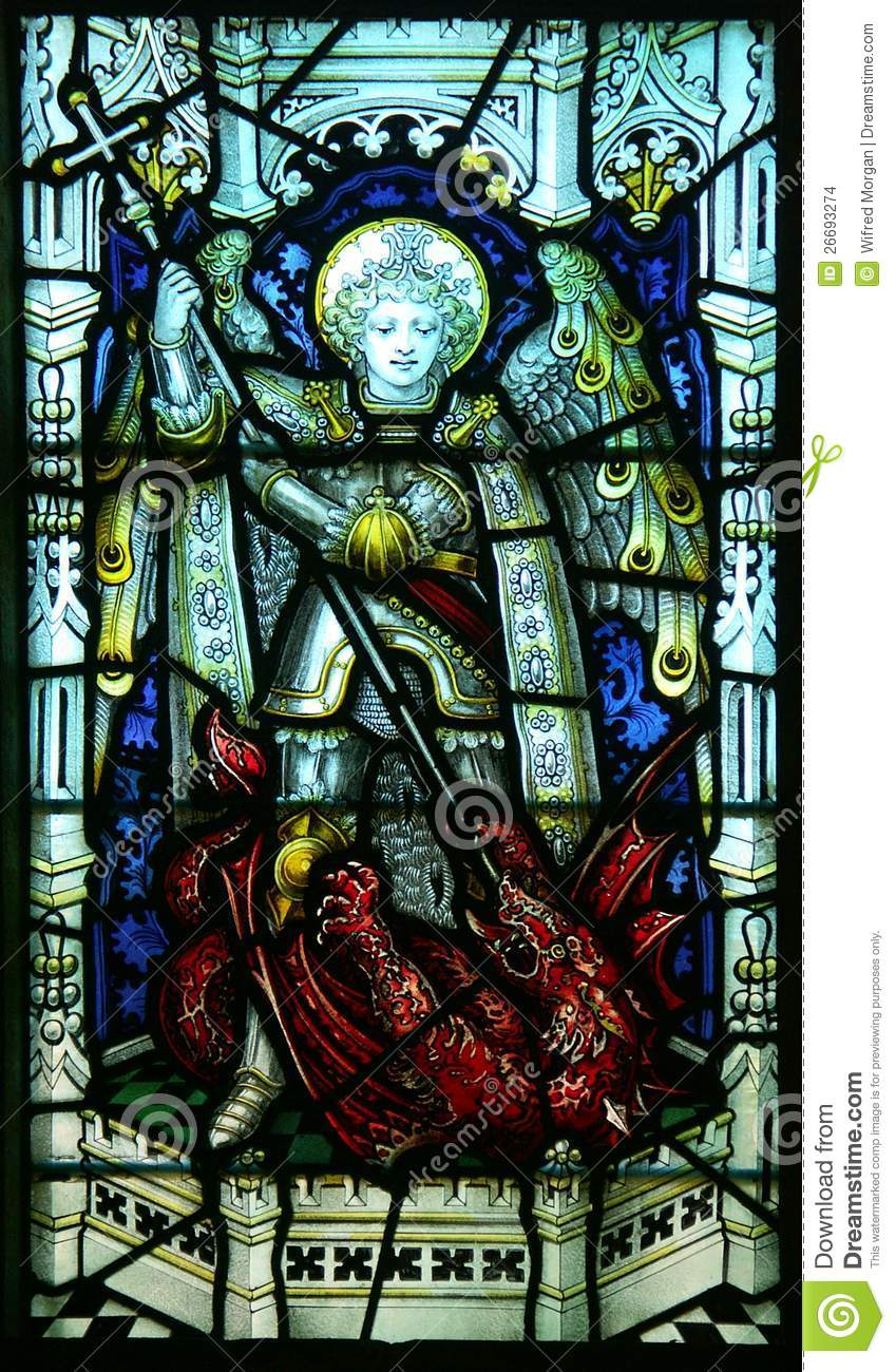 Victorian church stained glass depicting St Michael slaying Satan.