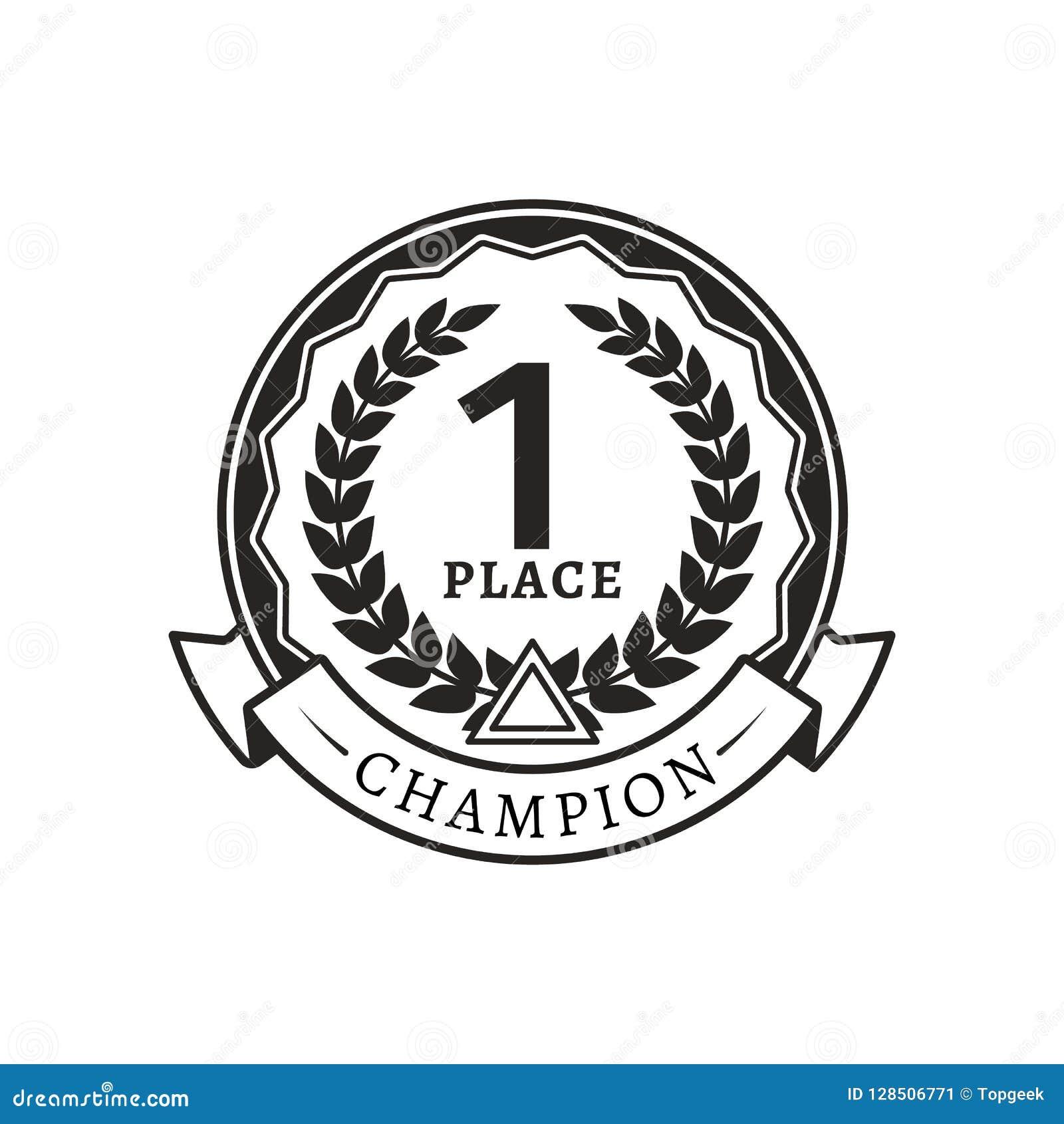 1st miejsce medal dla mistrza monochromu logotypu