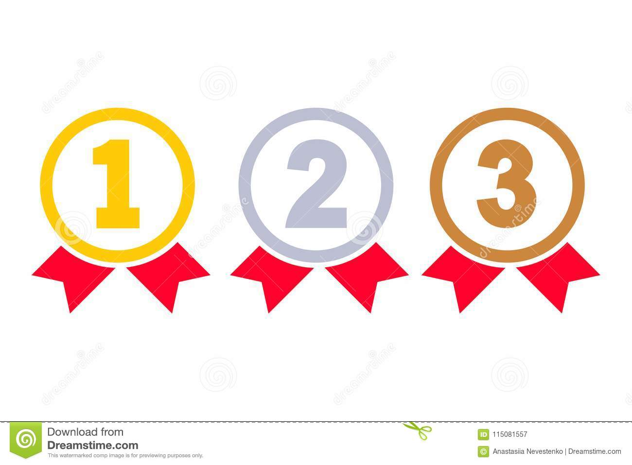 1st, 2nd, 3rd Places Stock Vector. Illustration Of