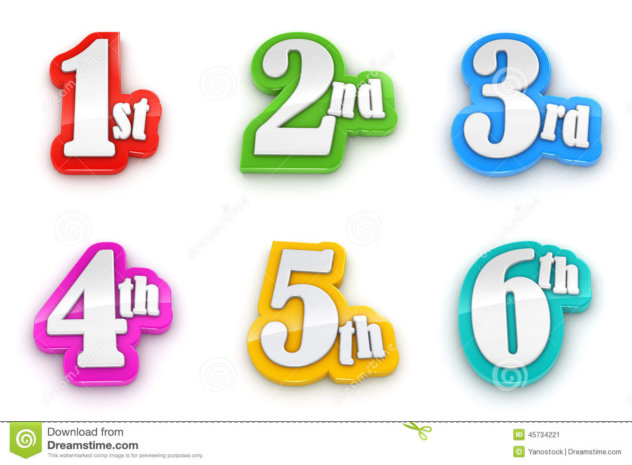 1st 2nd 3rd 4th 5th 6th numbers on white background illustration