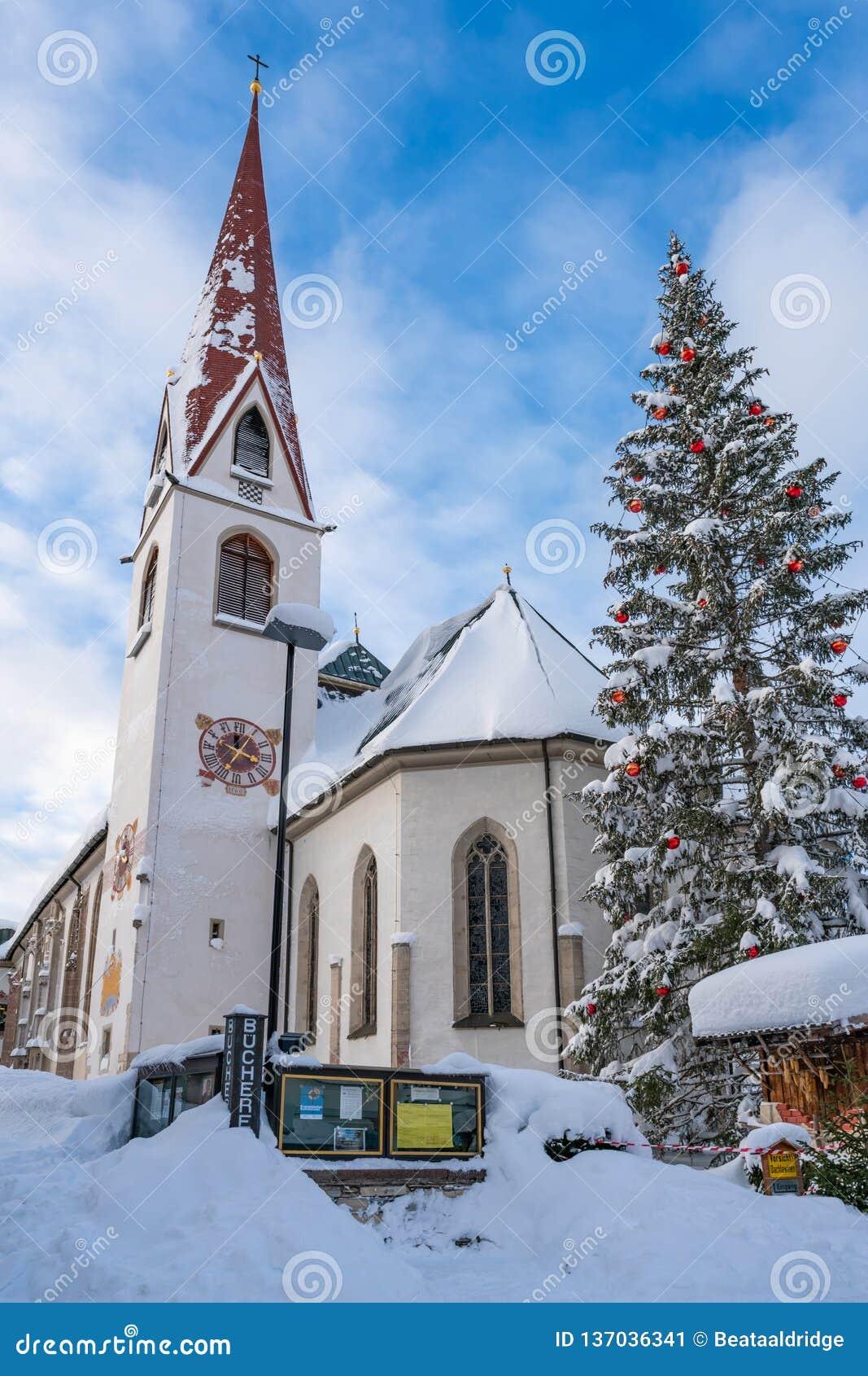 Christmas In Austria 2019.St Oswald Parish Church In Seefeld In Austria Editorial