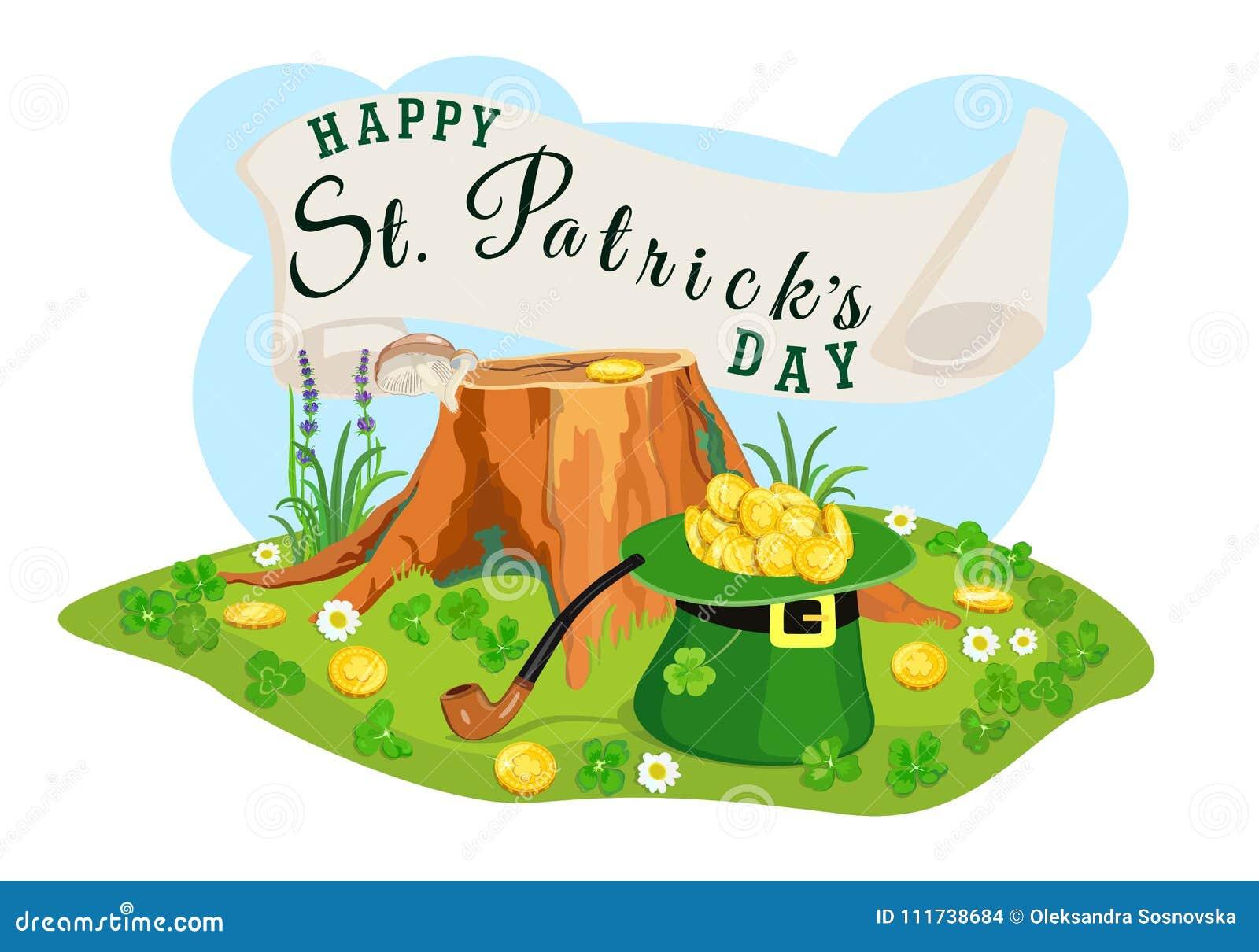 St Patrick Day affiche Zoek naar gouden muntstukken Vector illustratie