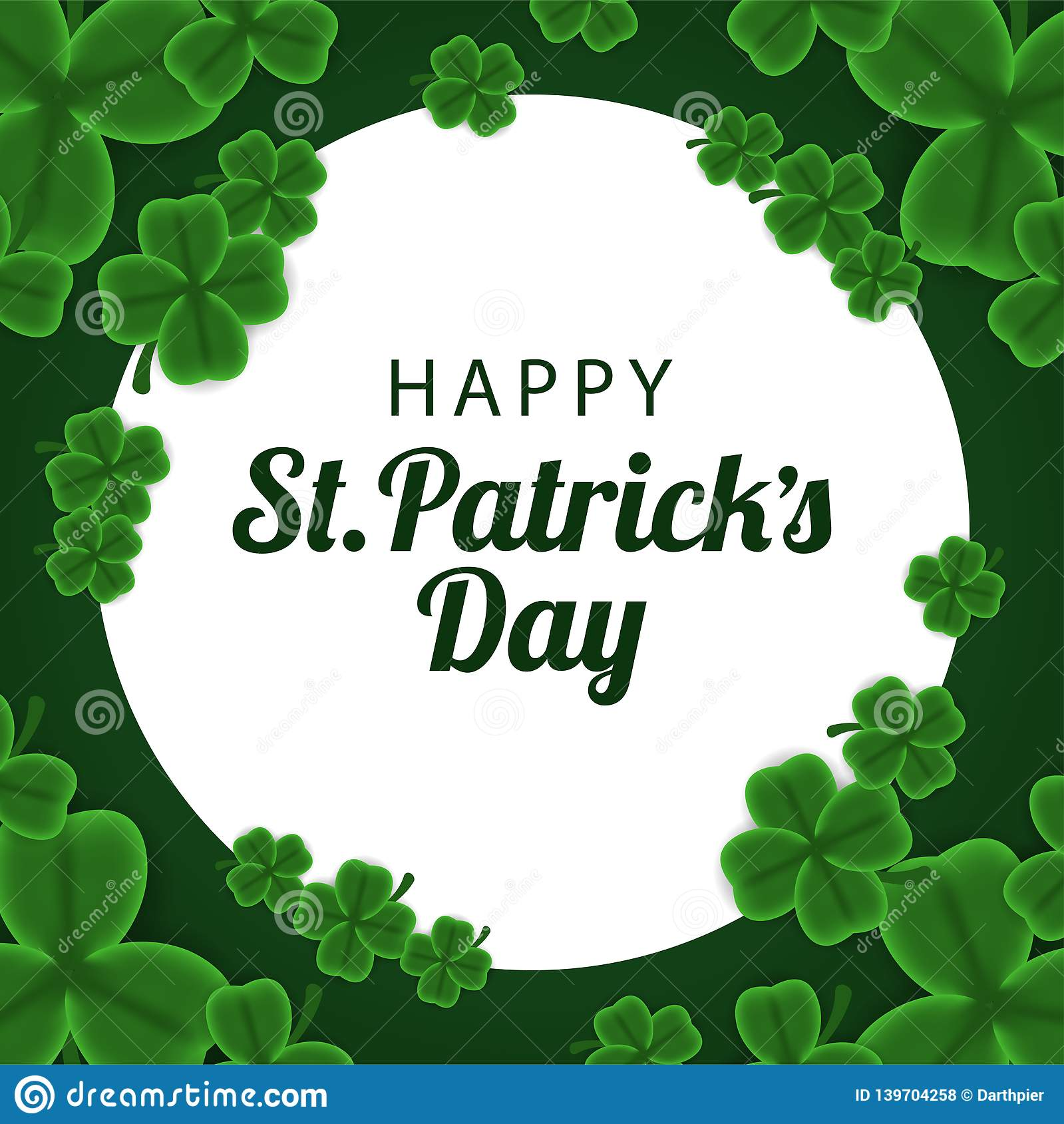 St patrick day banner template with illustration of shamrock clover leaves