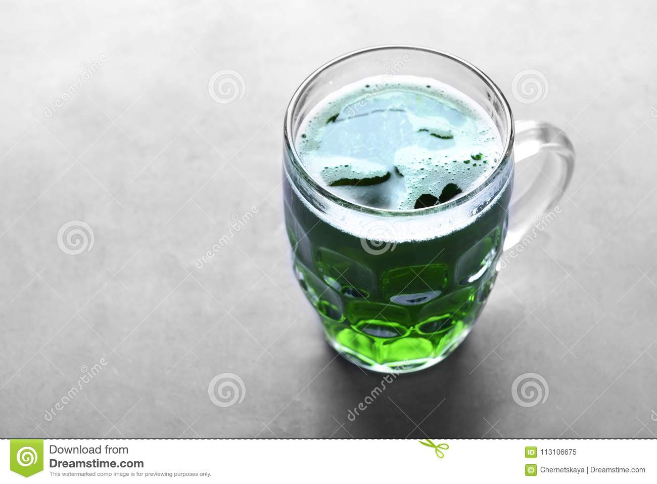 St. Patrick Day concept. Glass of green beer