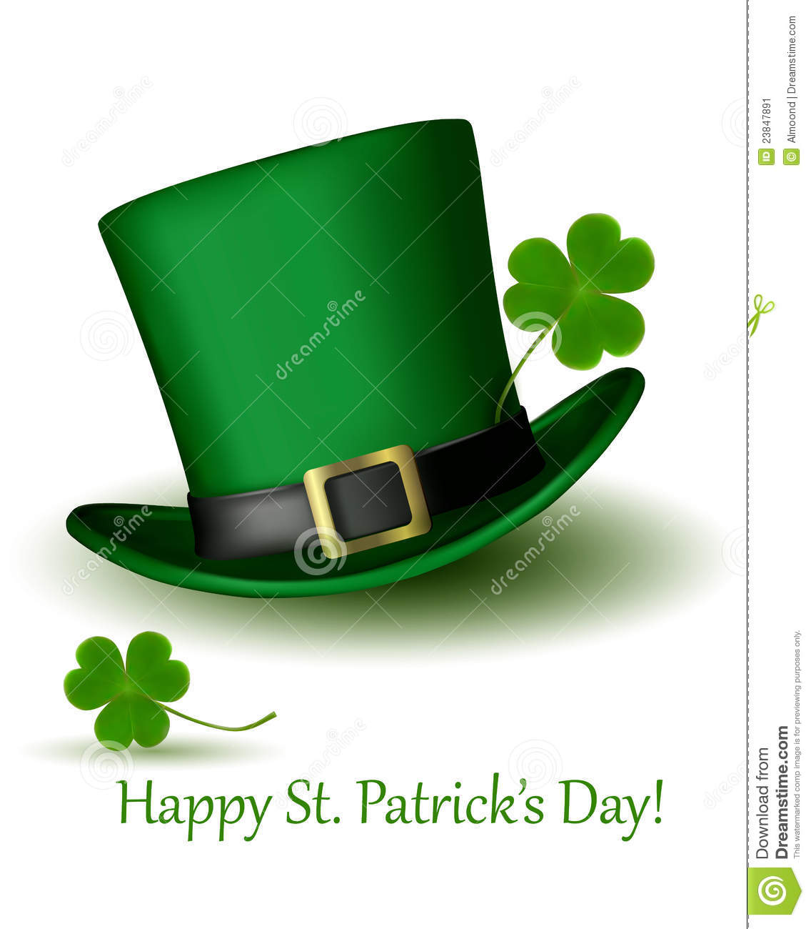 St Patrick Day Hat With Clover Vector Stock Image - Image: 23847891