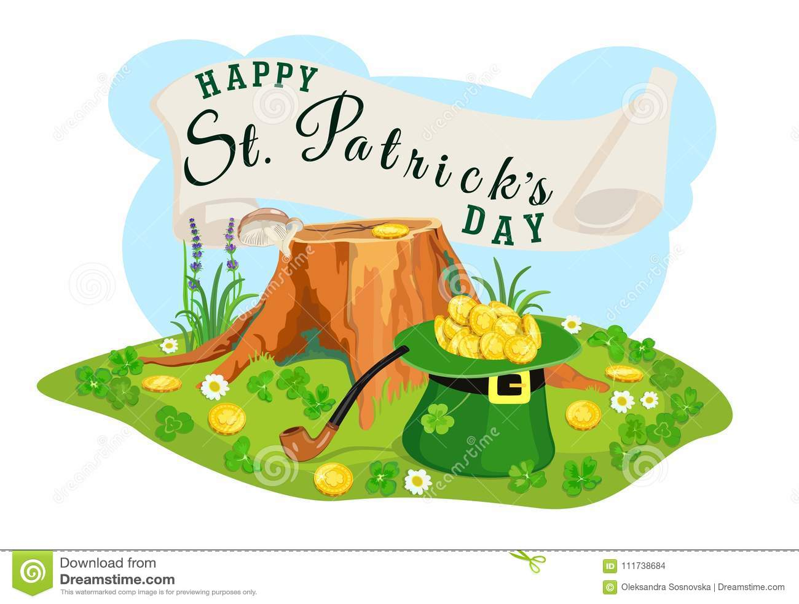 St Patrick dnia plakat Rewizja dla złocistych monet również zwrócić corel ilustracji wektora