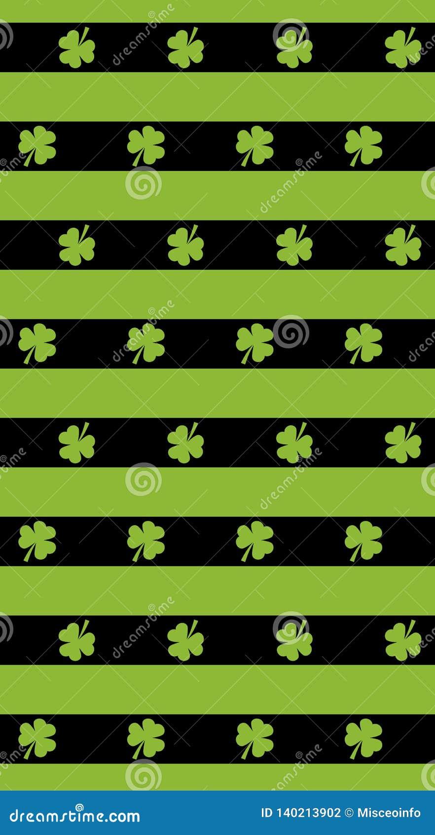St Patrick dnia wektoru tło Bezszwowi wzorów lampasy z zieloną koniczyną St Patrick dnia wektoru wzór dostępnego tła czerń błękit