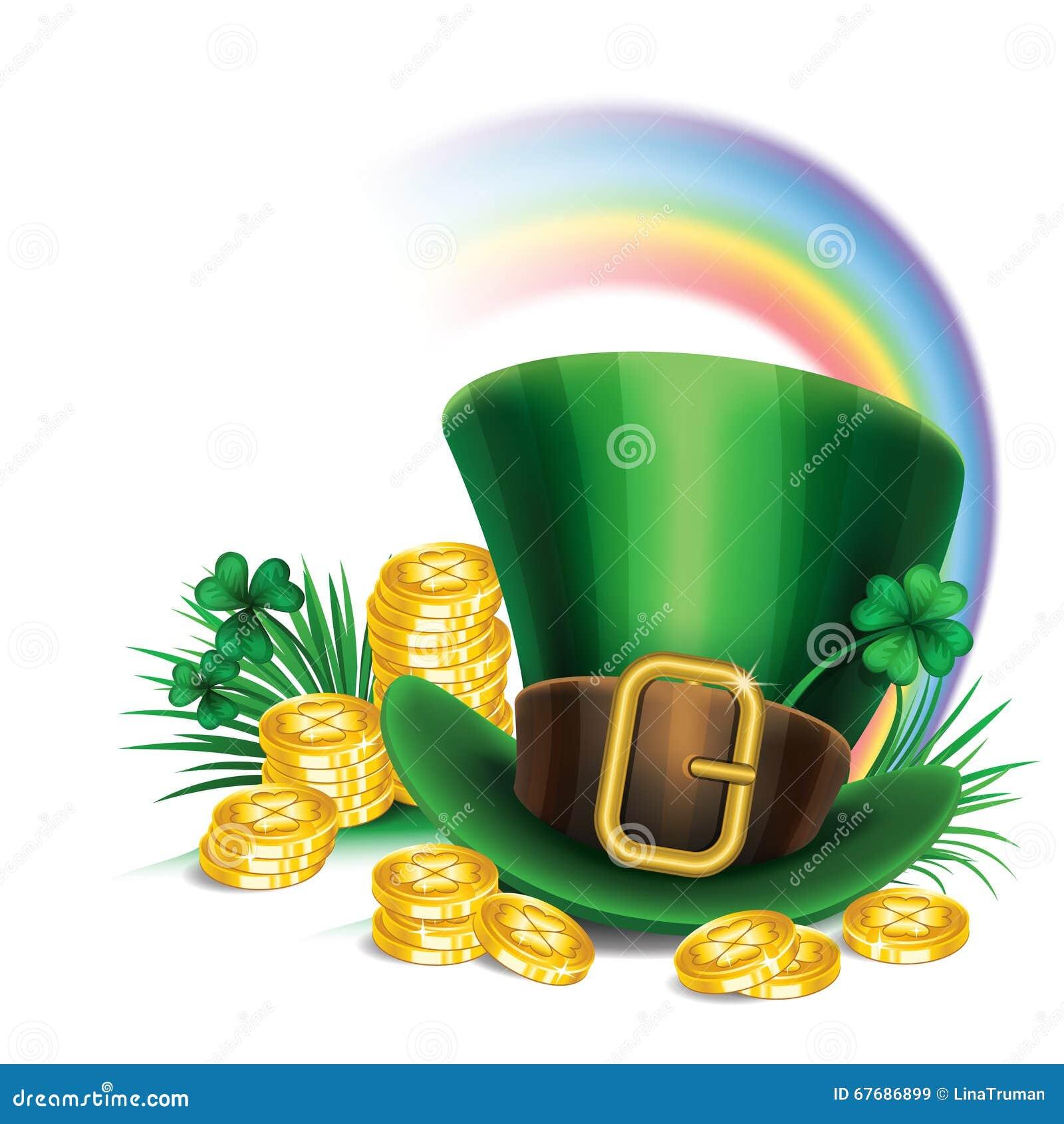 St Patrick hoed van de Dag de groene kabouter met klaver, gouden muntstukken