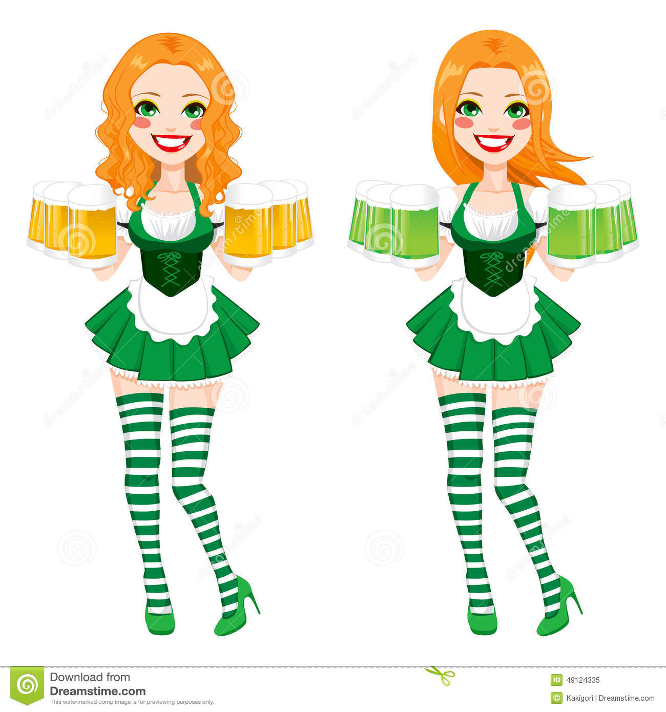 St Patrick Irish Girl Beer Stock Vector Image 49124335