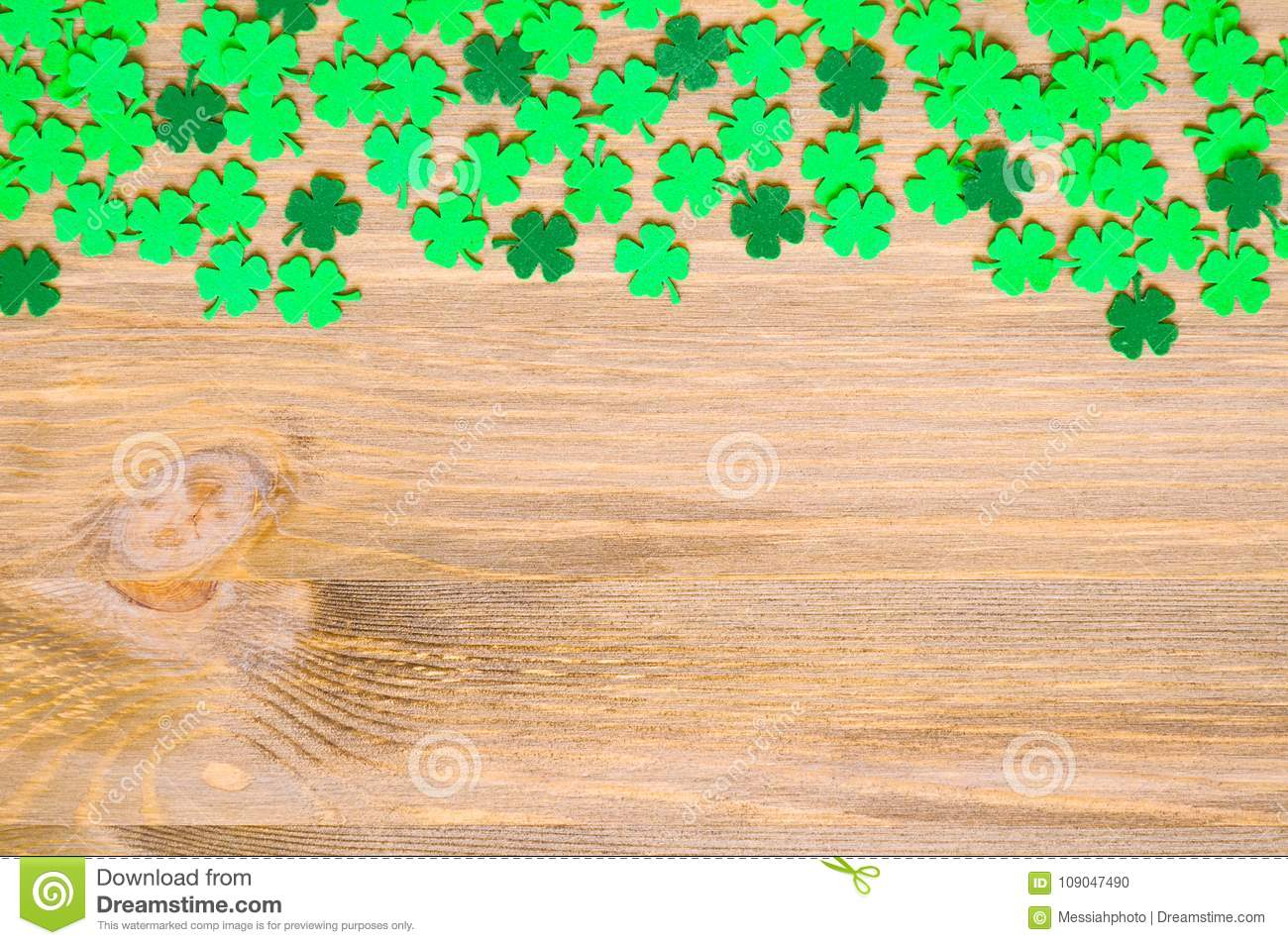 St Patrick`s Day background, one side border with green quatrefoils and space for text