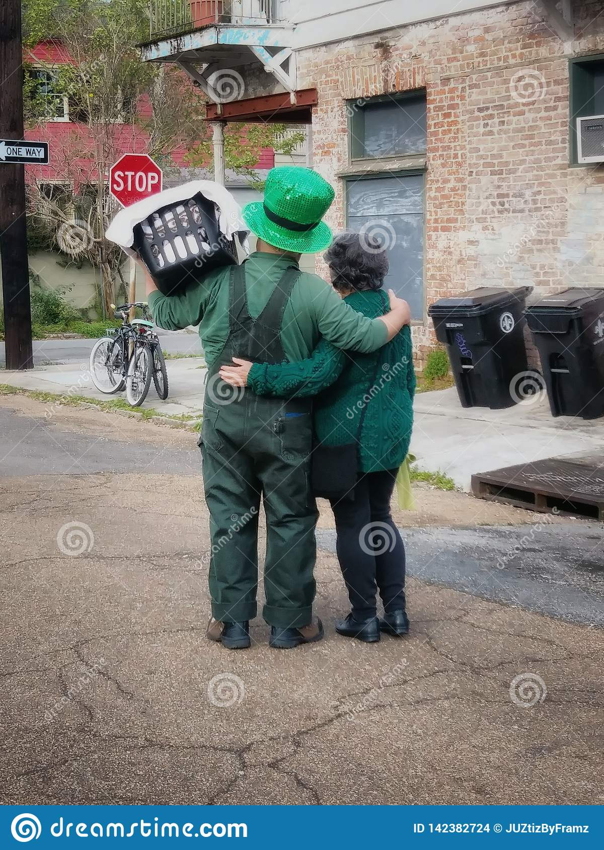 St Patrick Day Couple in New Orleans