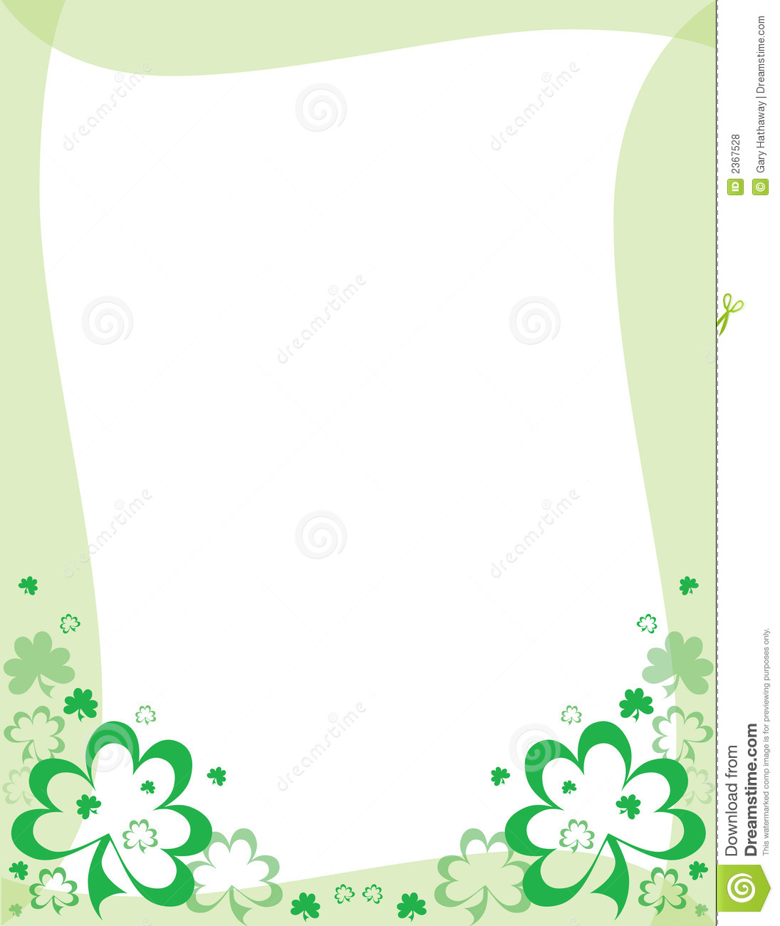 An illustrated St. Patrick's Day frame featuring green shamrocks and ...