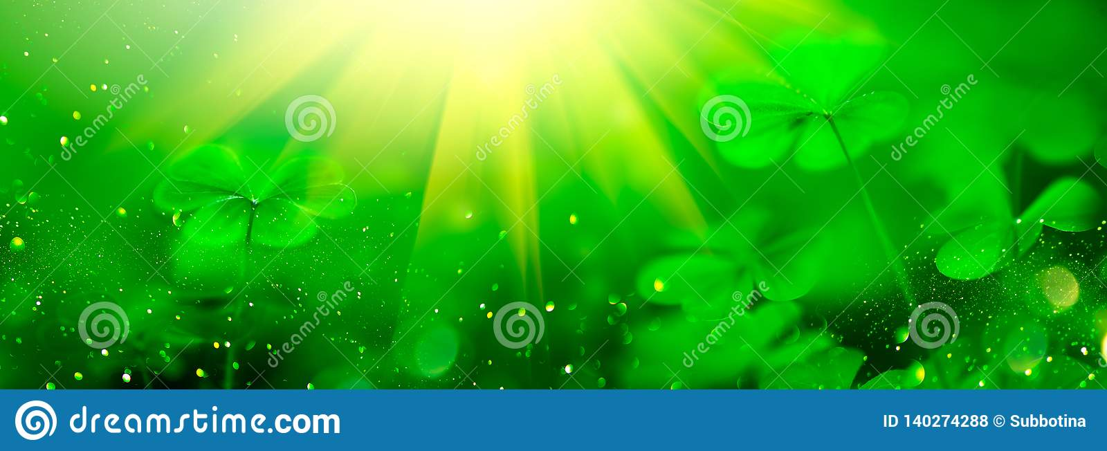 St. Patrick`s Day green blurred background with shamrock leaves. Patrick Day. Abstract border art design