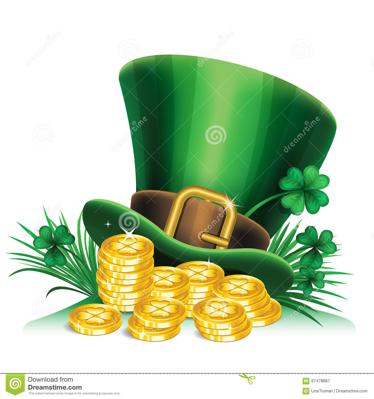 St Patricks Day Green Leprechaun Hat With Clover And Gold Coins StPatricks Symbol Background Vector Illustration
