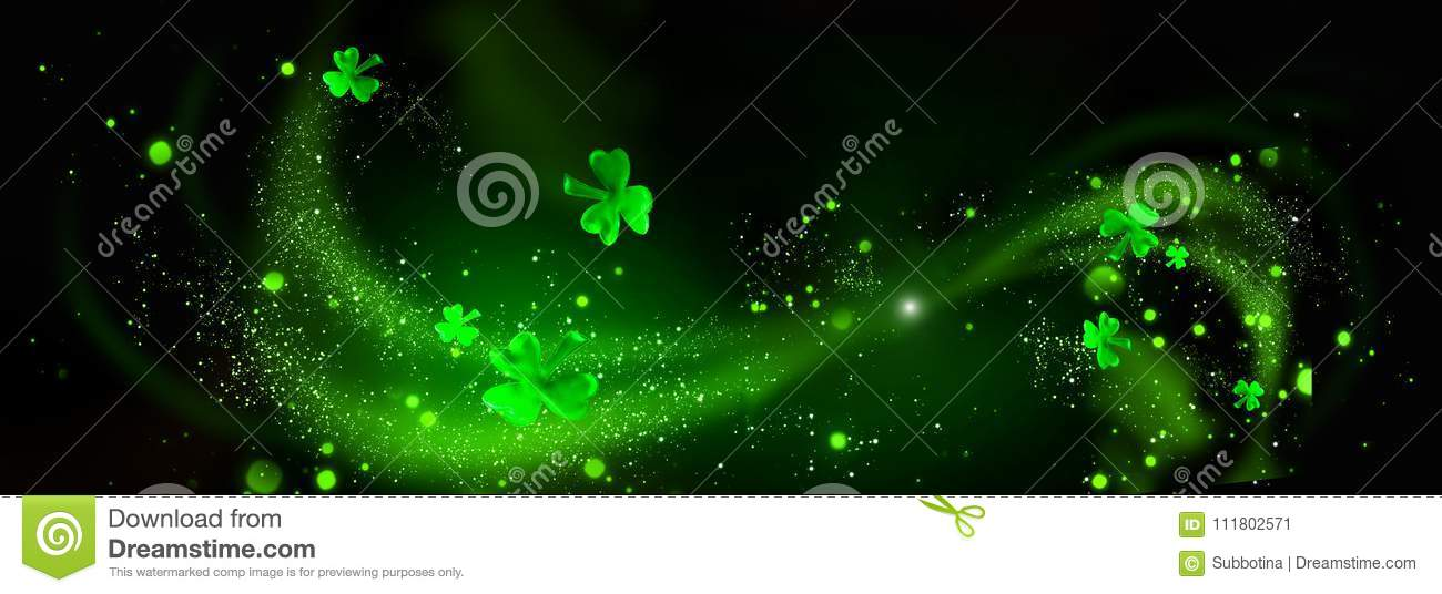 St. Patrick`s Day. Green shamrock leaves over black background