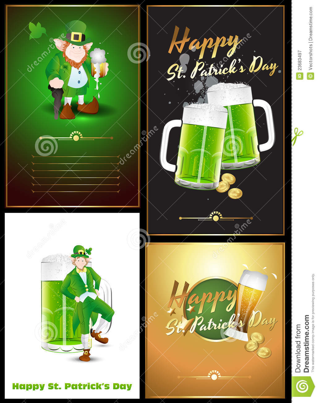 St Patricks Day Greetings Vectors Stock Vector Illustration Of