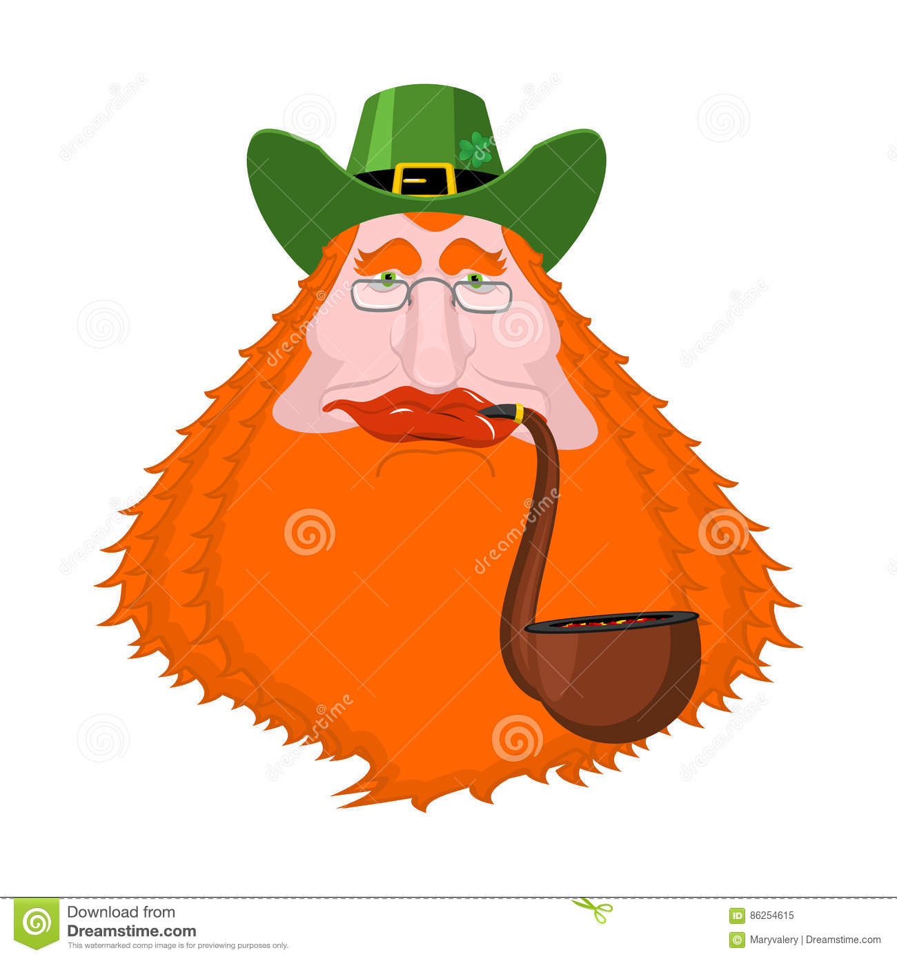 a9b6e93d8ea St. Patrick`s Day Leprechaun With Red Beard And Pipe. Green Hat ...