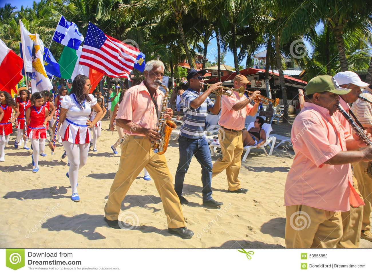 Download St.Patrick's Day Marching Band Parade On The Beach, Cabarete, Dominican Republic Editorial Stock Photo - Image of view, winter: 63555858