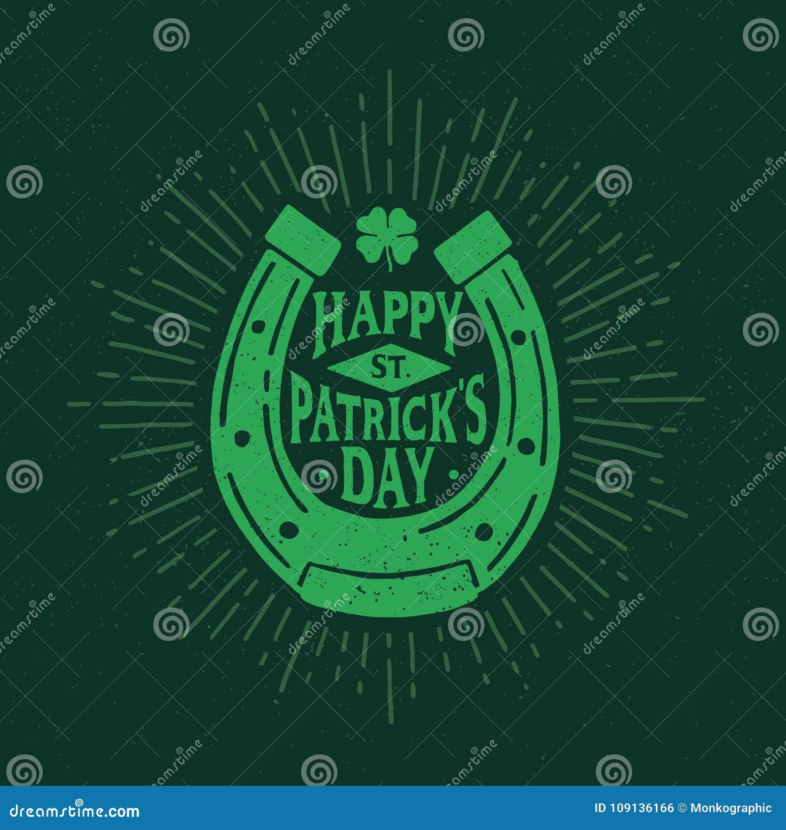 St. Patrick`s Day. Retro style emblem of horseshoe. Typography.