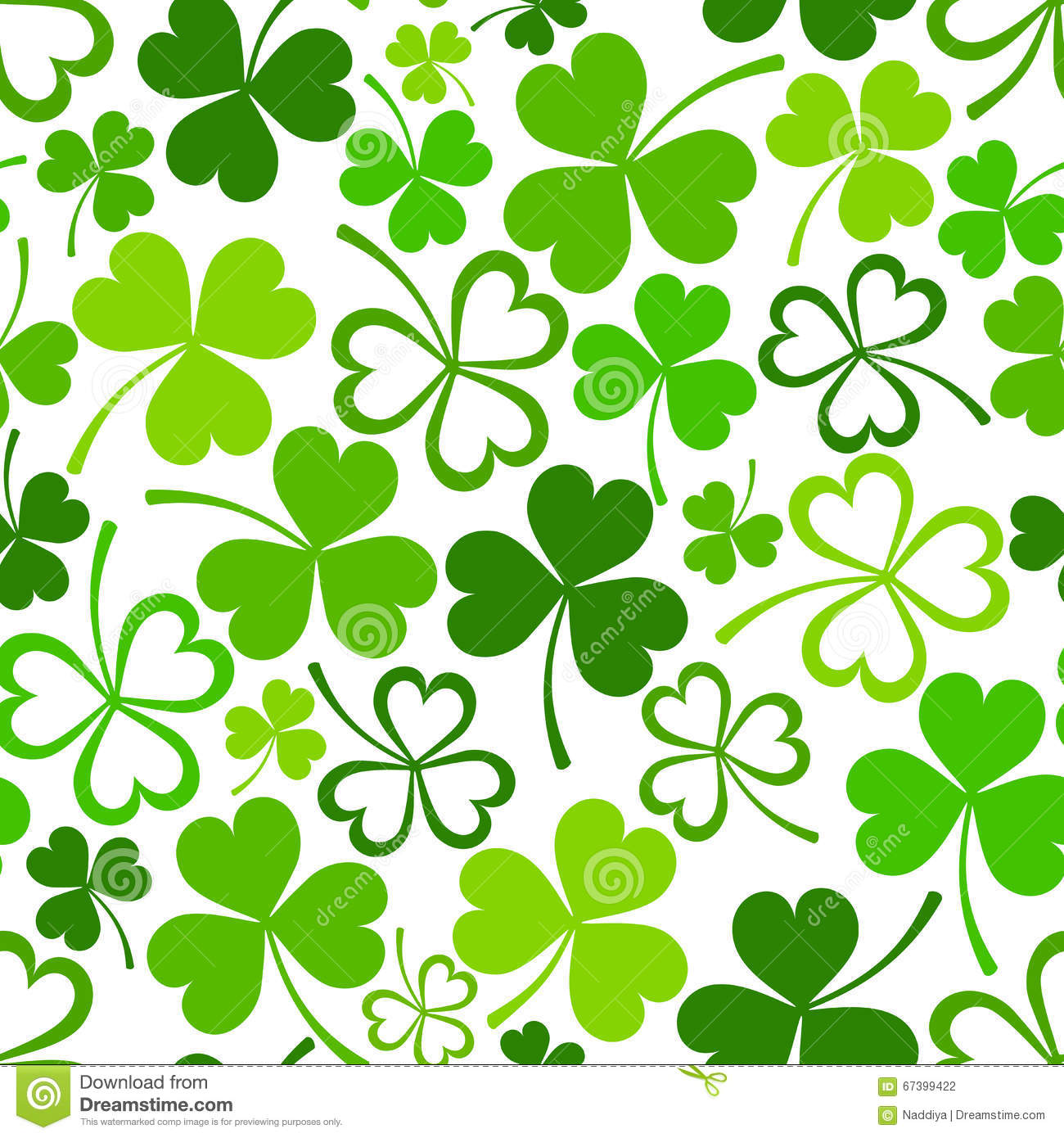St. Patrick s day seamless pattern with green shamrock. Vector ...