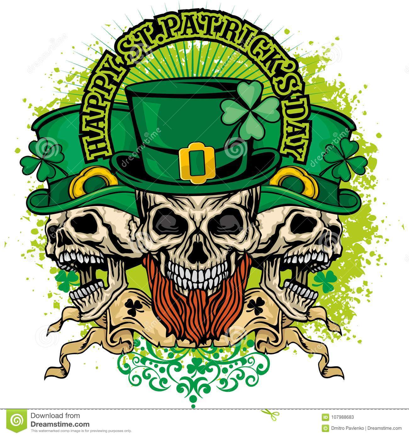 158864472 Irish coat of arms with skull and clover, grunge vintage design t shirts.  Designers Also Selected These Stock Illustrations