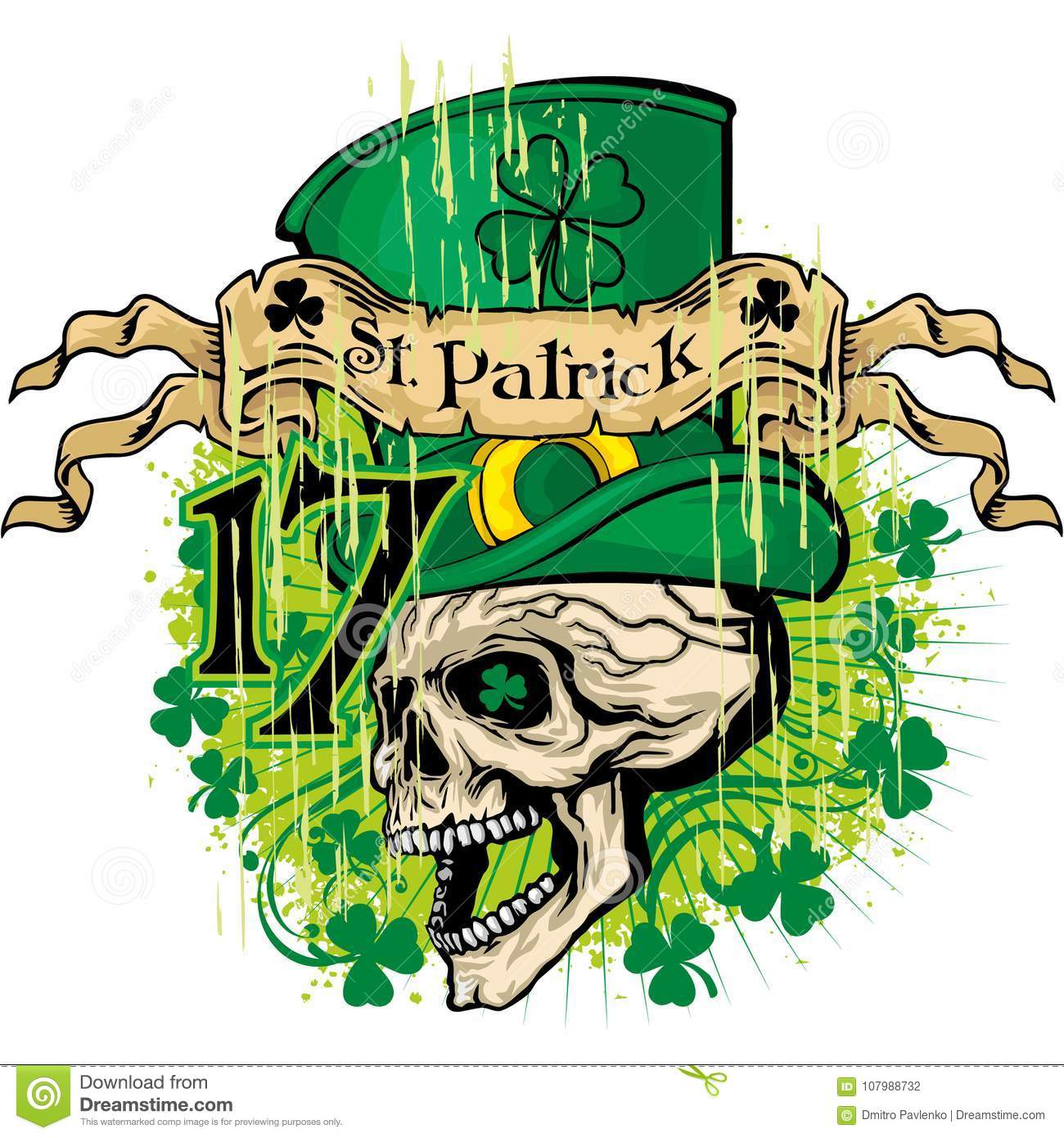 db11d9f93 Irish coat of arms with skull and clover, grunge vintage design t shirts.  More similar stock illustrations