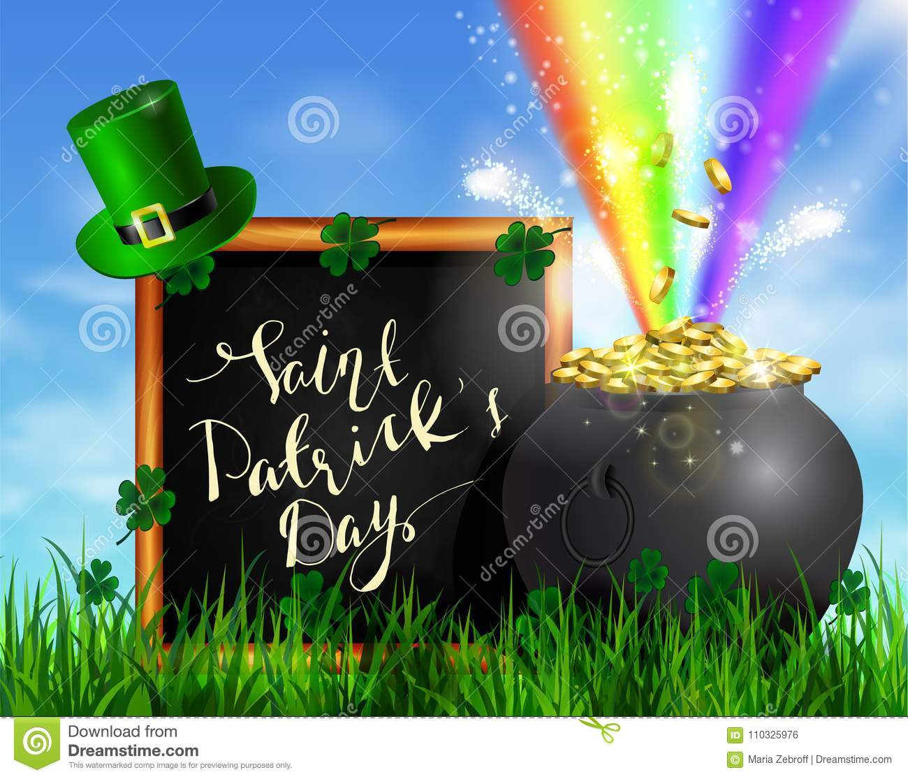 St Patrick S Day Symbol Green Pot Stock Vector Illustration Of