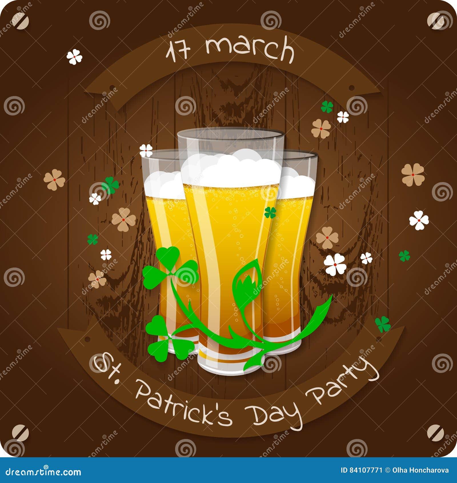 St Patrick ` s dnia piwa przyjęcia zaproszenia plakat