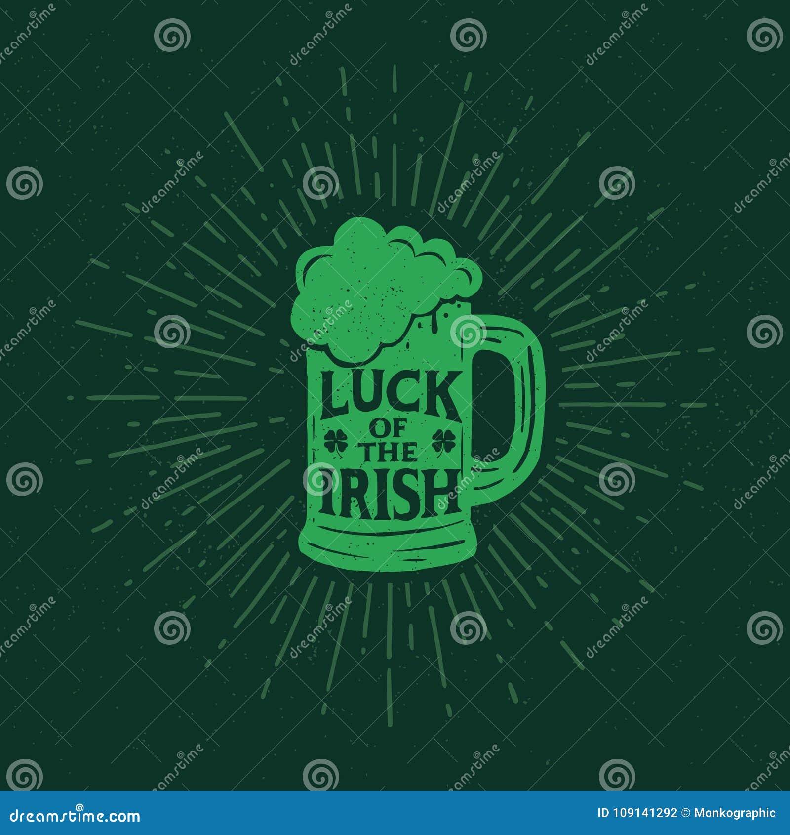 St Patrick ` s dzień Retro stylowy emblemata pół kwarty piwo typografia