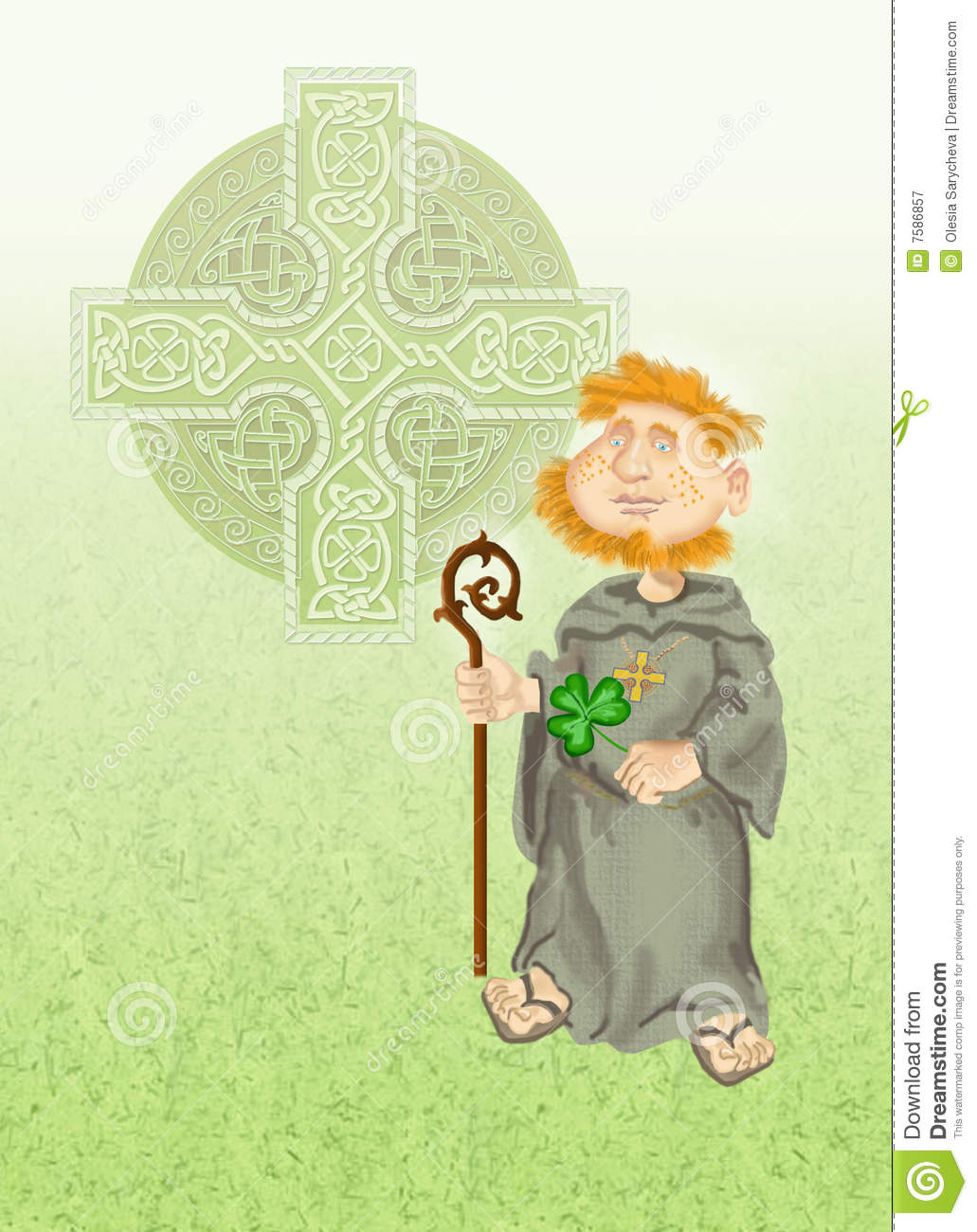 Celtic Cross With Shamrock Shamrock and celtic cross