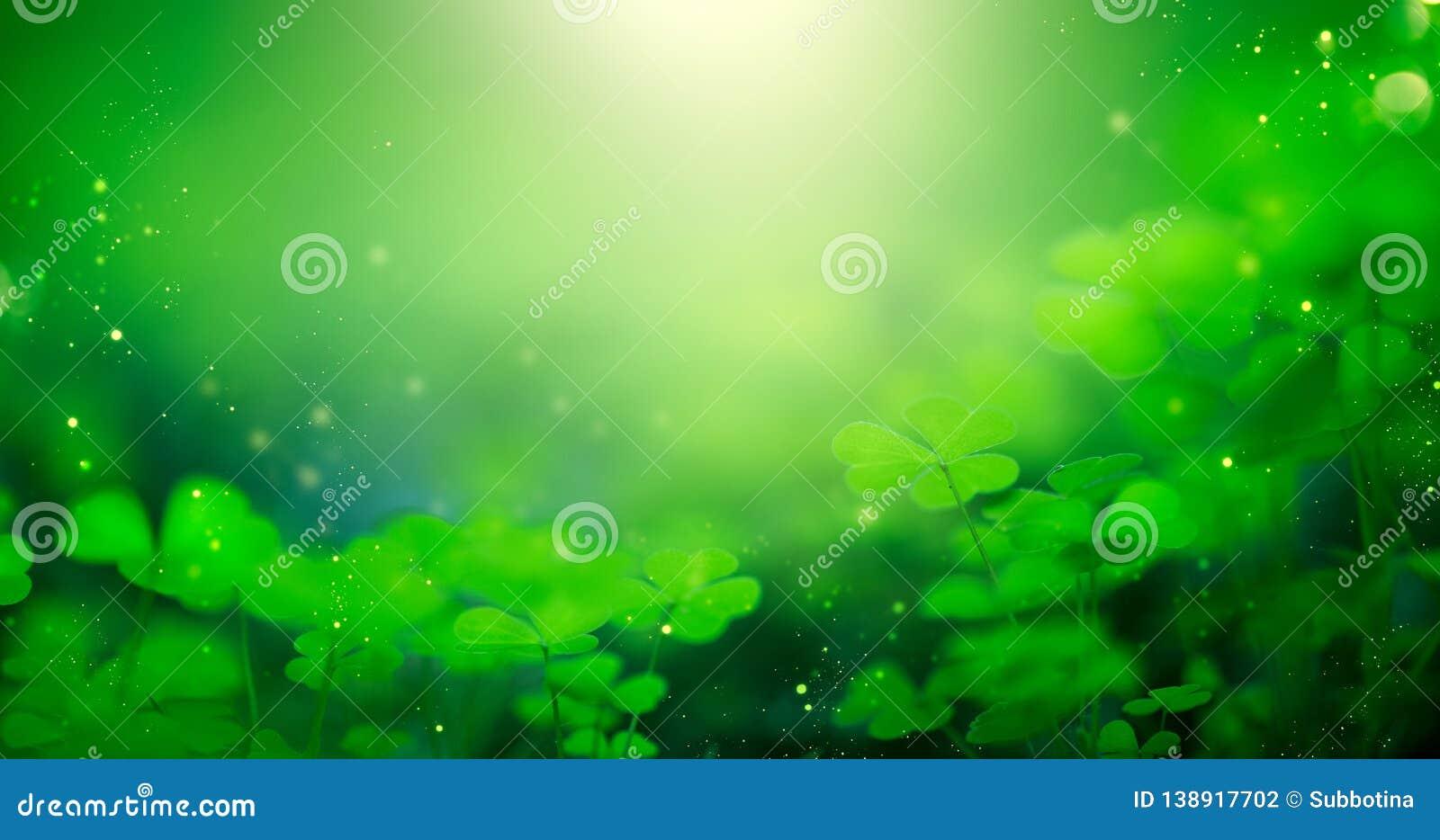 St Patrick Tagesgrün unscharfer Hintergrund mit Shamrockblättern Patrick Day Abstrakter Grenzkunstentwurf Magischer Klee