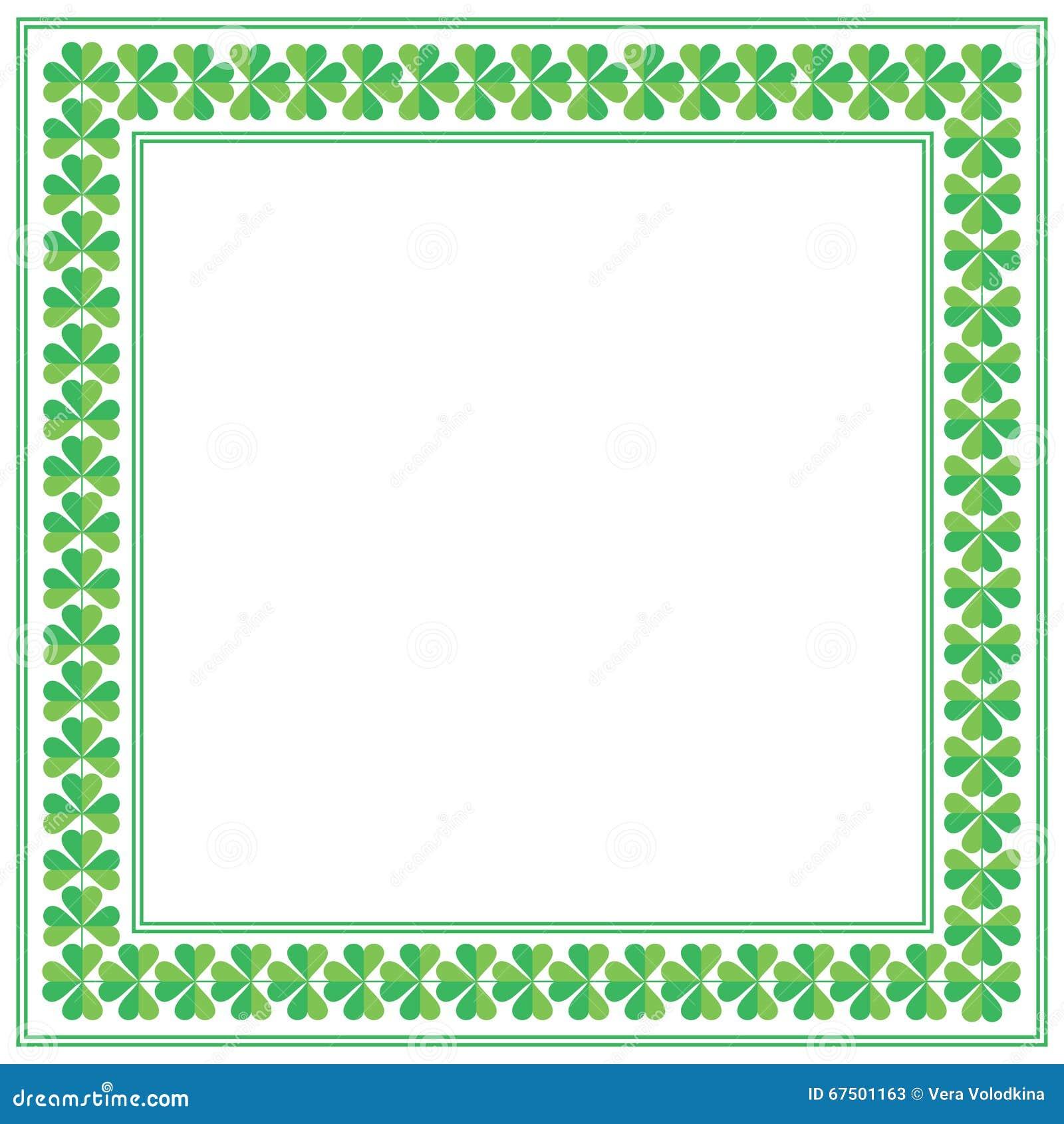 st patricks天与三叶草的正方形框架在白色背景 也corel凹道例证向量.图片