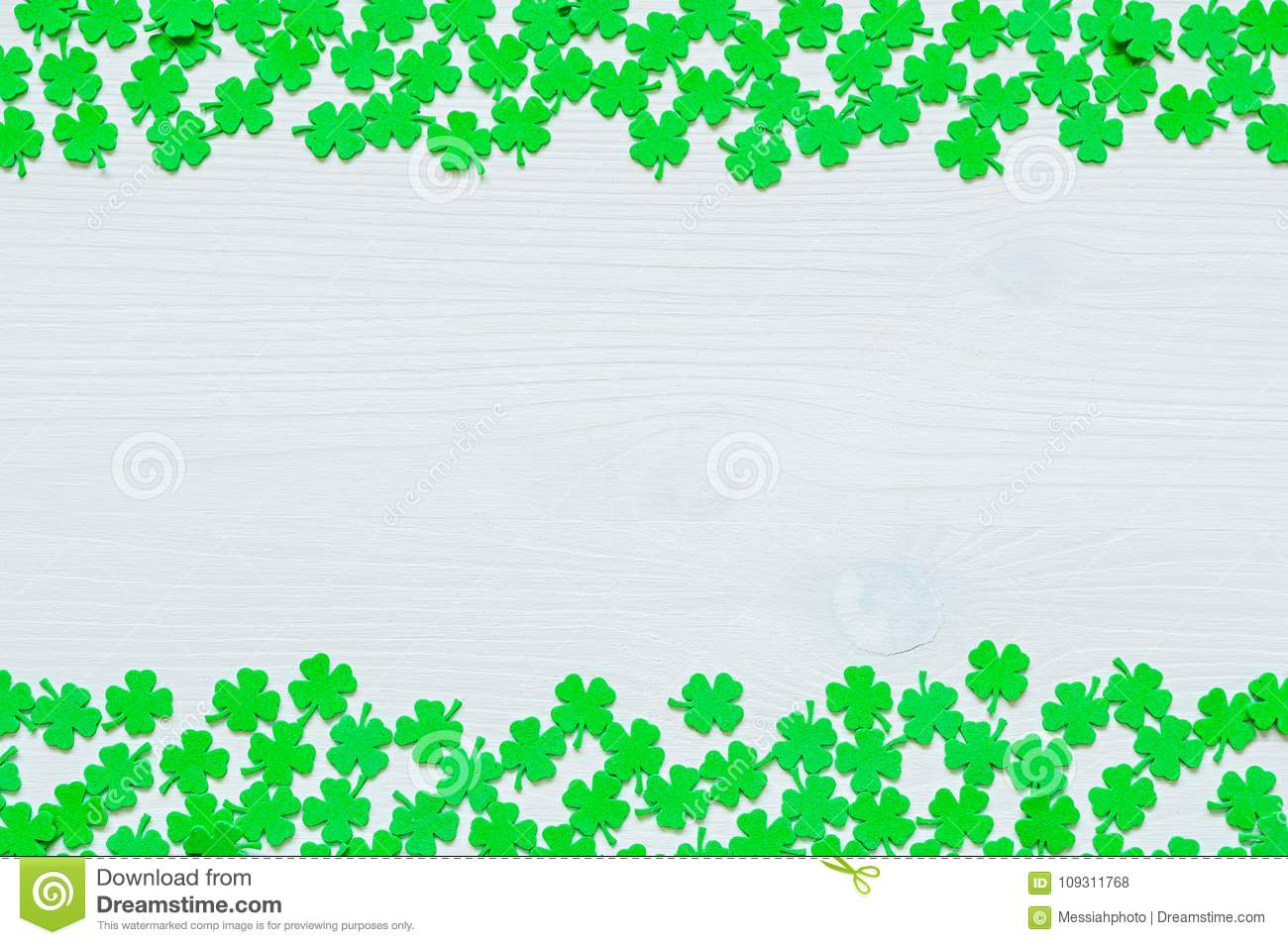 St Patricks Day background with both side borders and green quatrefoils