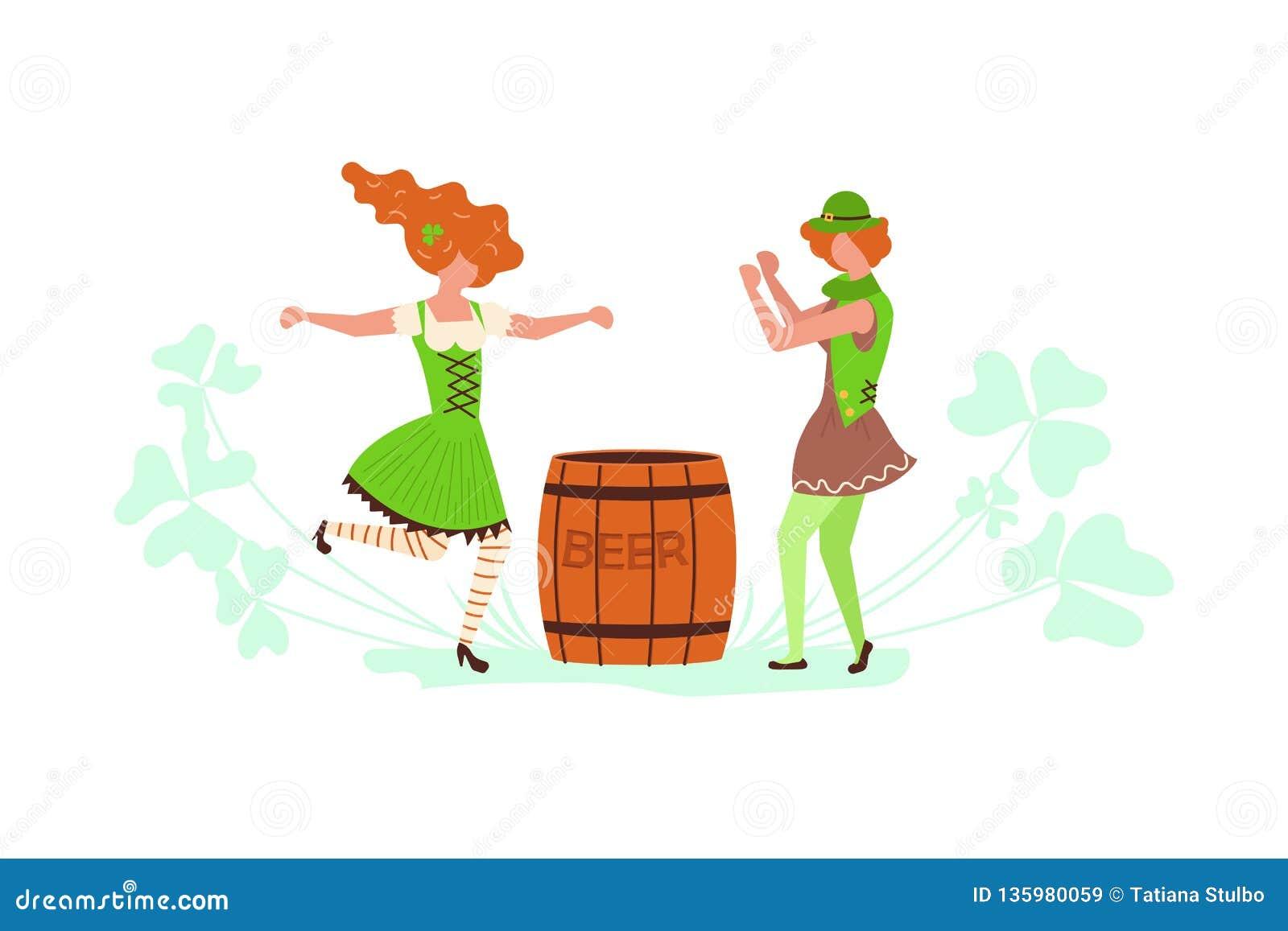 Cute Cartoon Leprechauns Dancing Stock Vector - Illustration ...