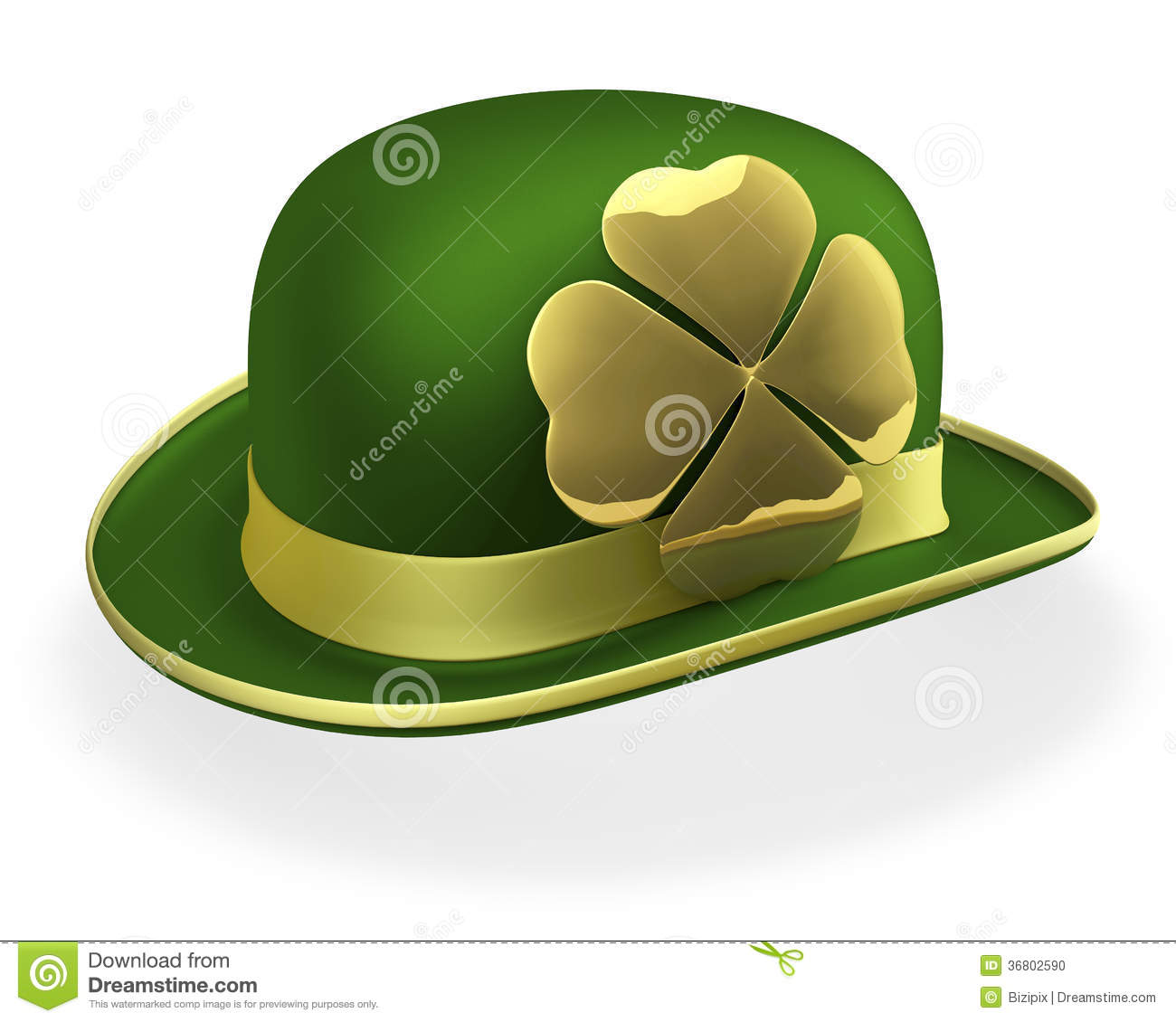 0d3c0943605c Green bowler hat with shiny, golden shamrock on side, 3d rendering on white  background