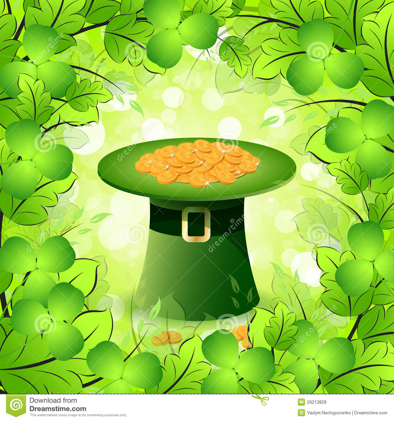 St Patricks Day Card With Leprechaun Hat Stock Vector
