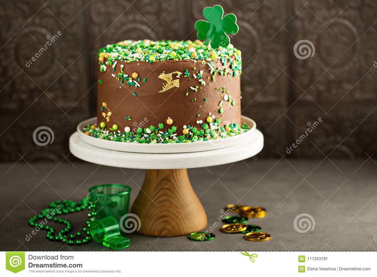 St Patricks Day Chocolate Cake Stock Image Image Of Candy Clover