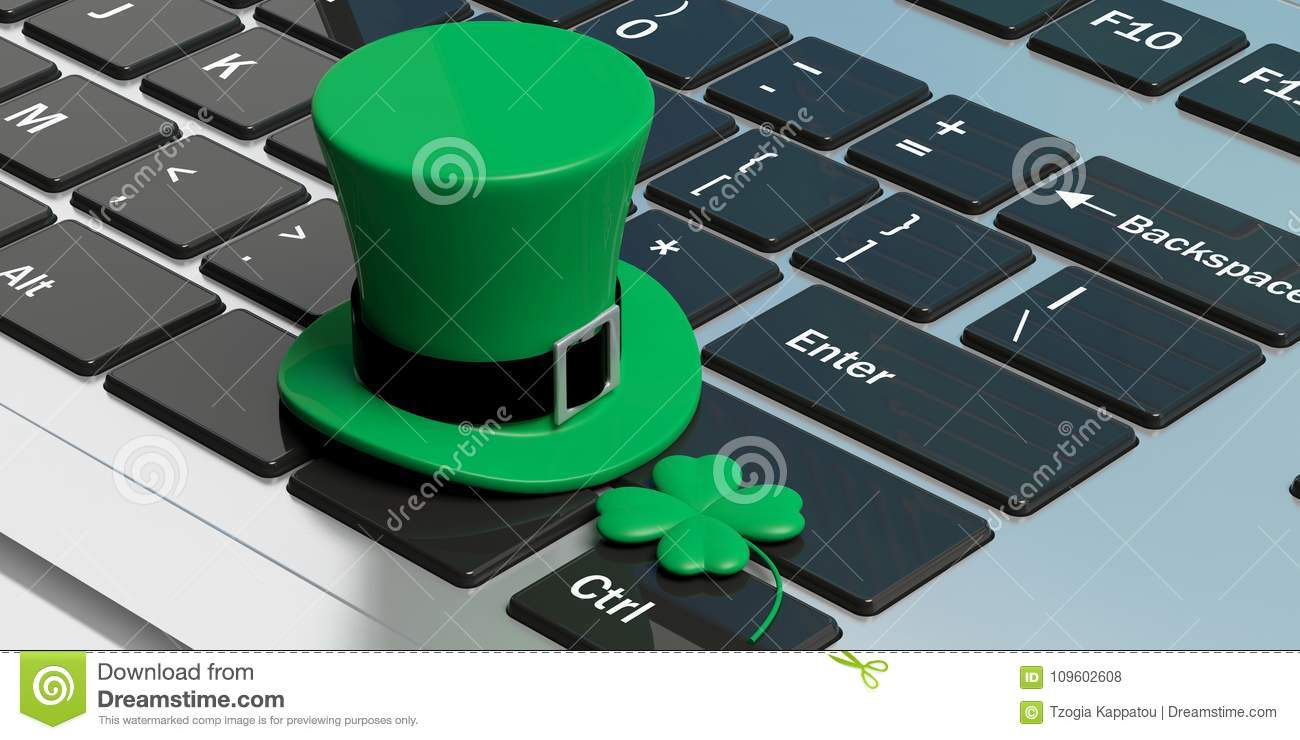 St Patricks Day Hat With Four Leaf Clover On Computer Keyboard 3d