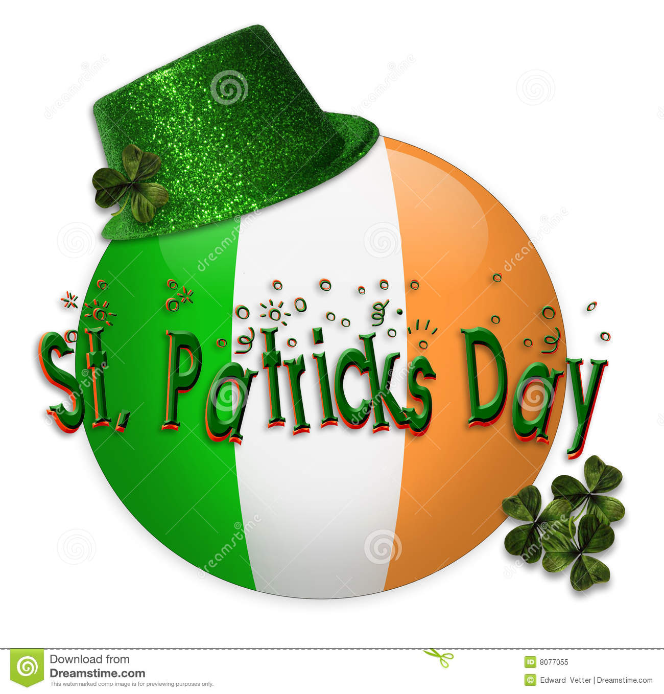 ... of Irish Flag for St Patricks day card, invitation, icon with 3D text