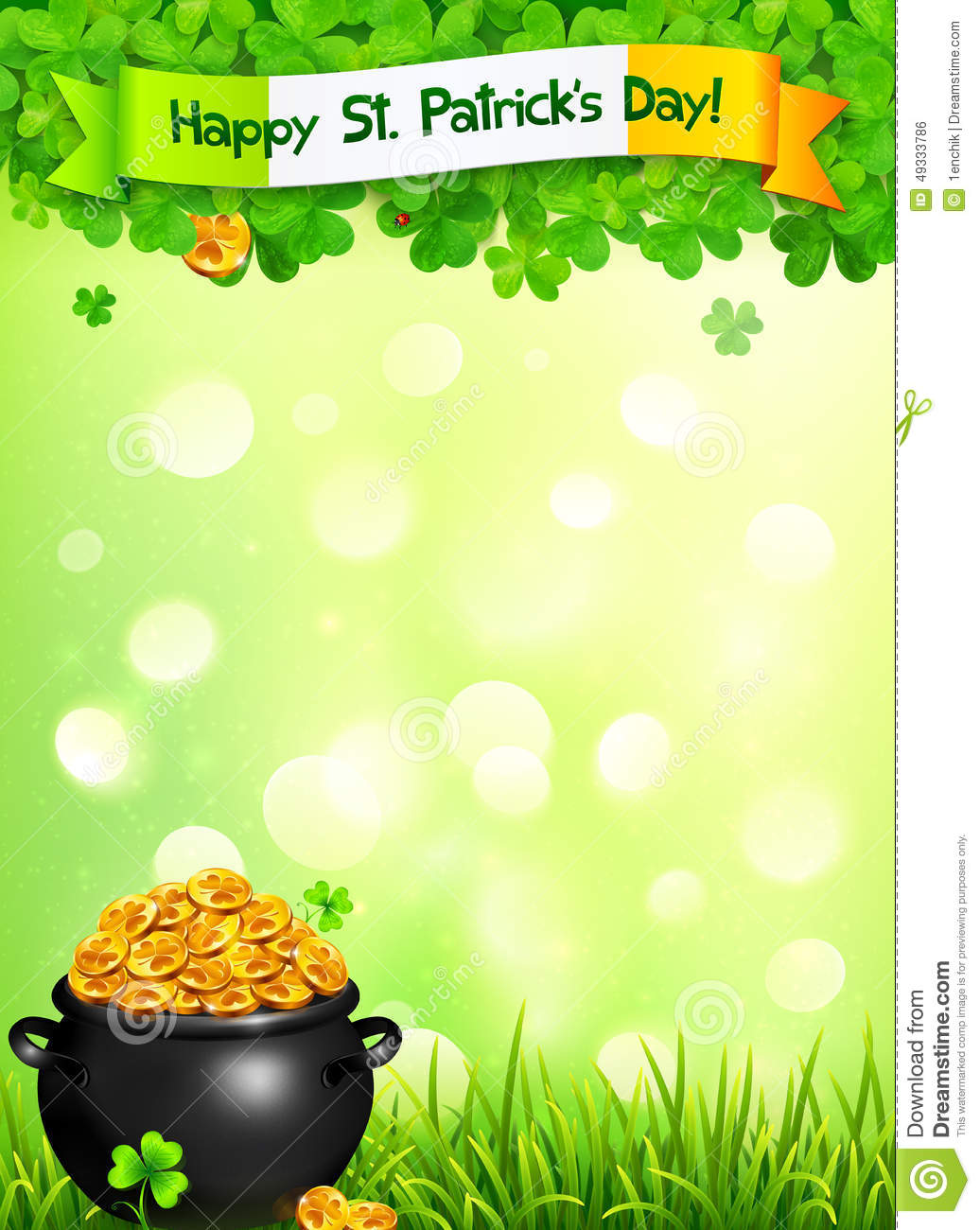 st patricks day leaflet template with pot of gold stock vector